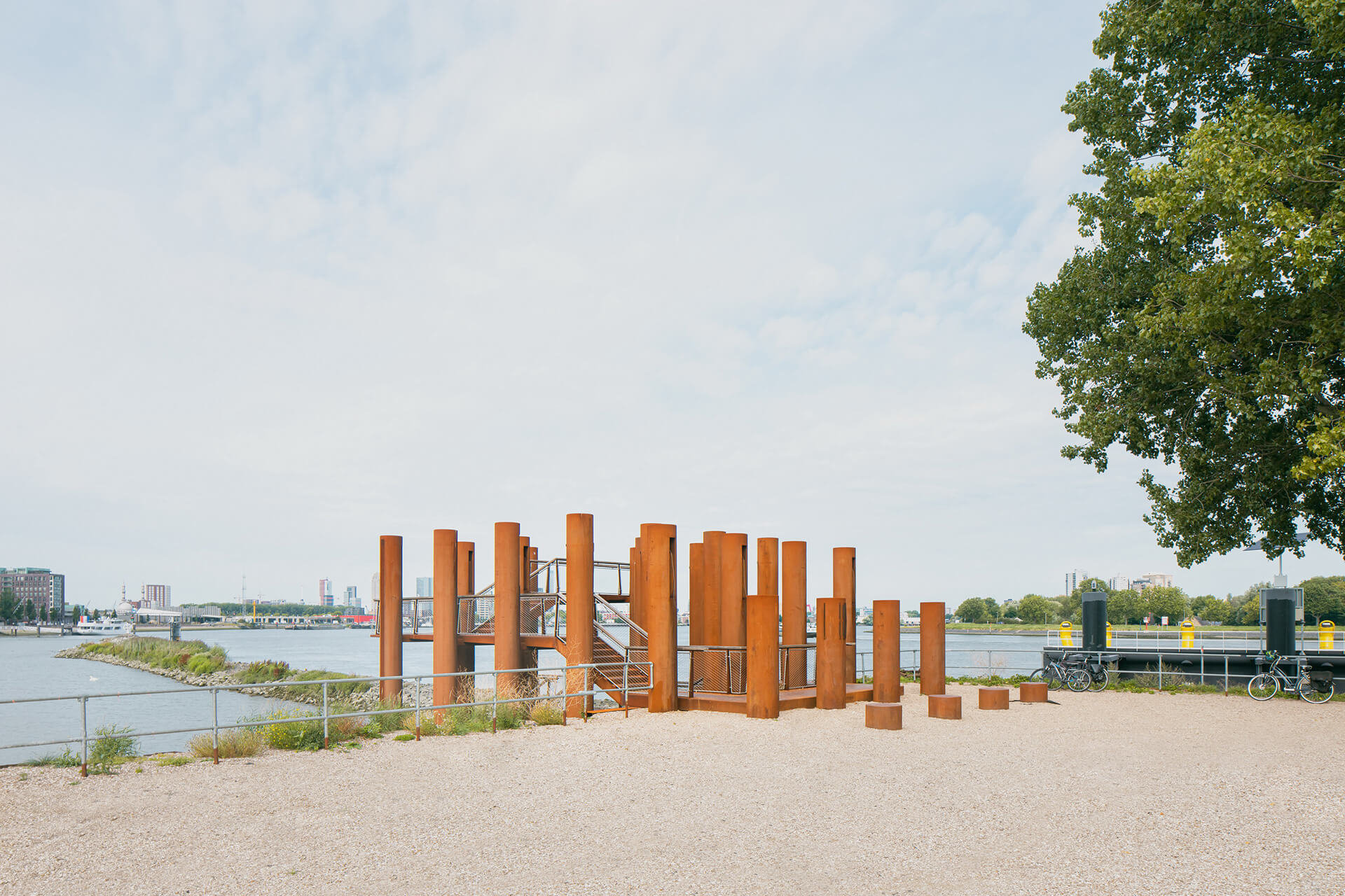 Water Woods is an installation created using steel pipes on the edge of the Maas river in Rotterdam | Water Woods Maaspoints | Next Architects | STIRworld