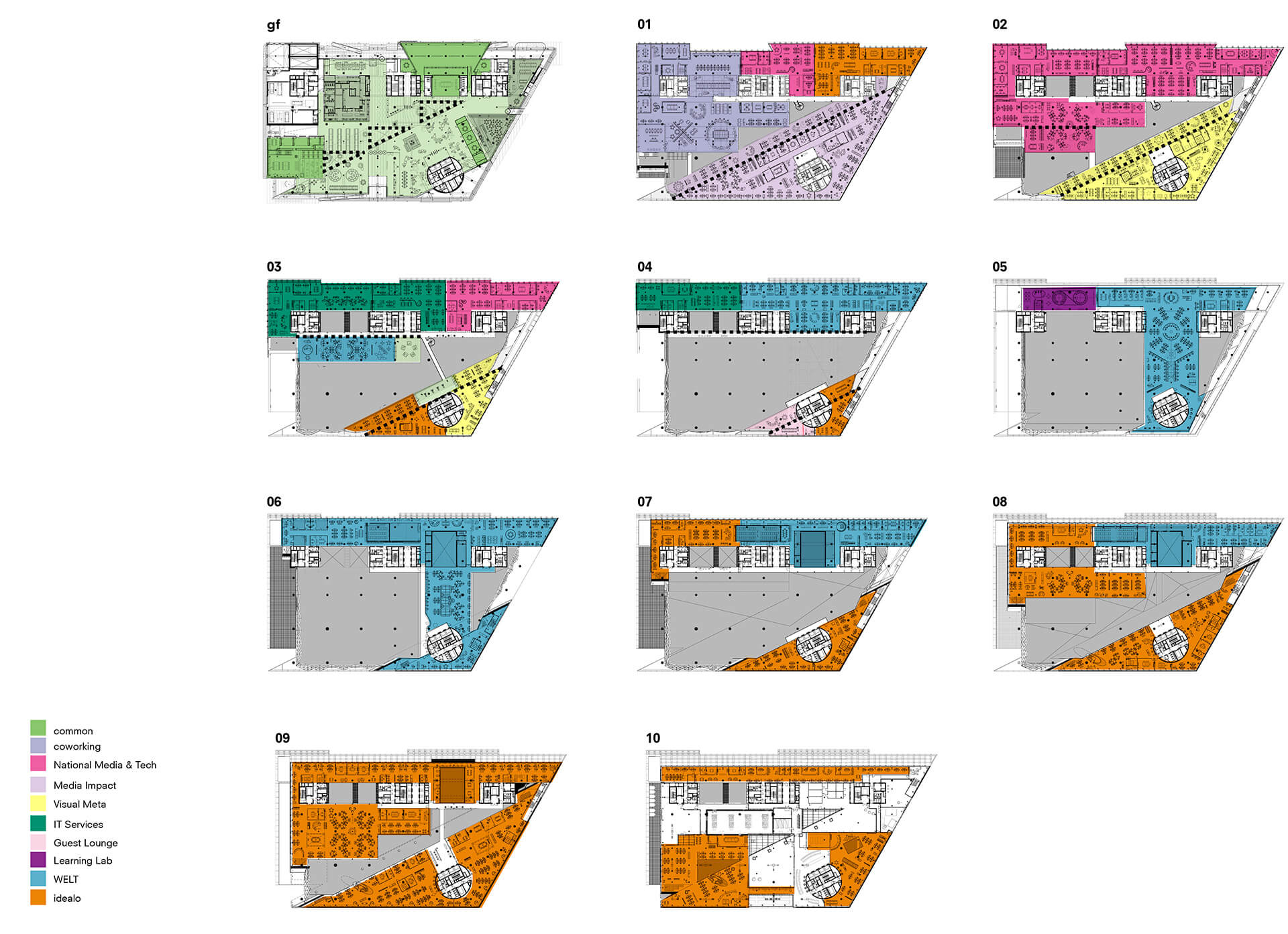 Sections of the building represented in diagram | OMA | Berlin | STIRworld
