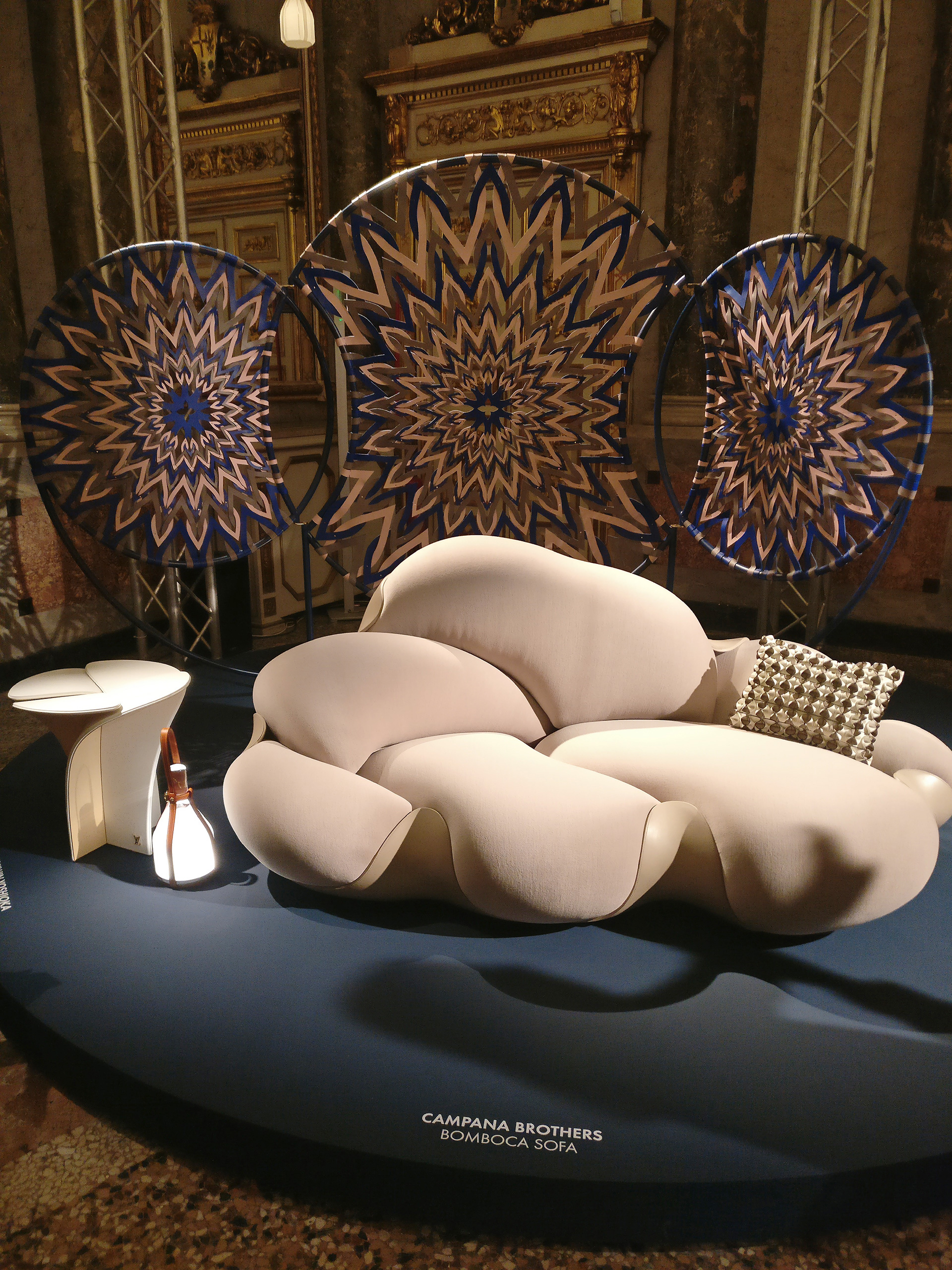 The Mandala - in mesmerising colours and patterns - behind the Bomboca sofa by Campana Brothers| Louis Vuitton| Objets Nomades | Fuorisalone 2019| STIR