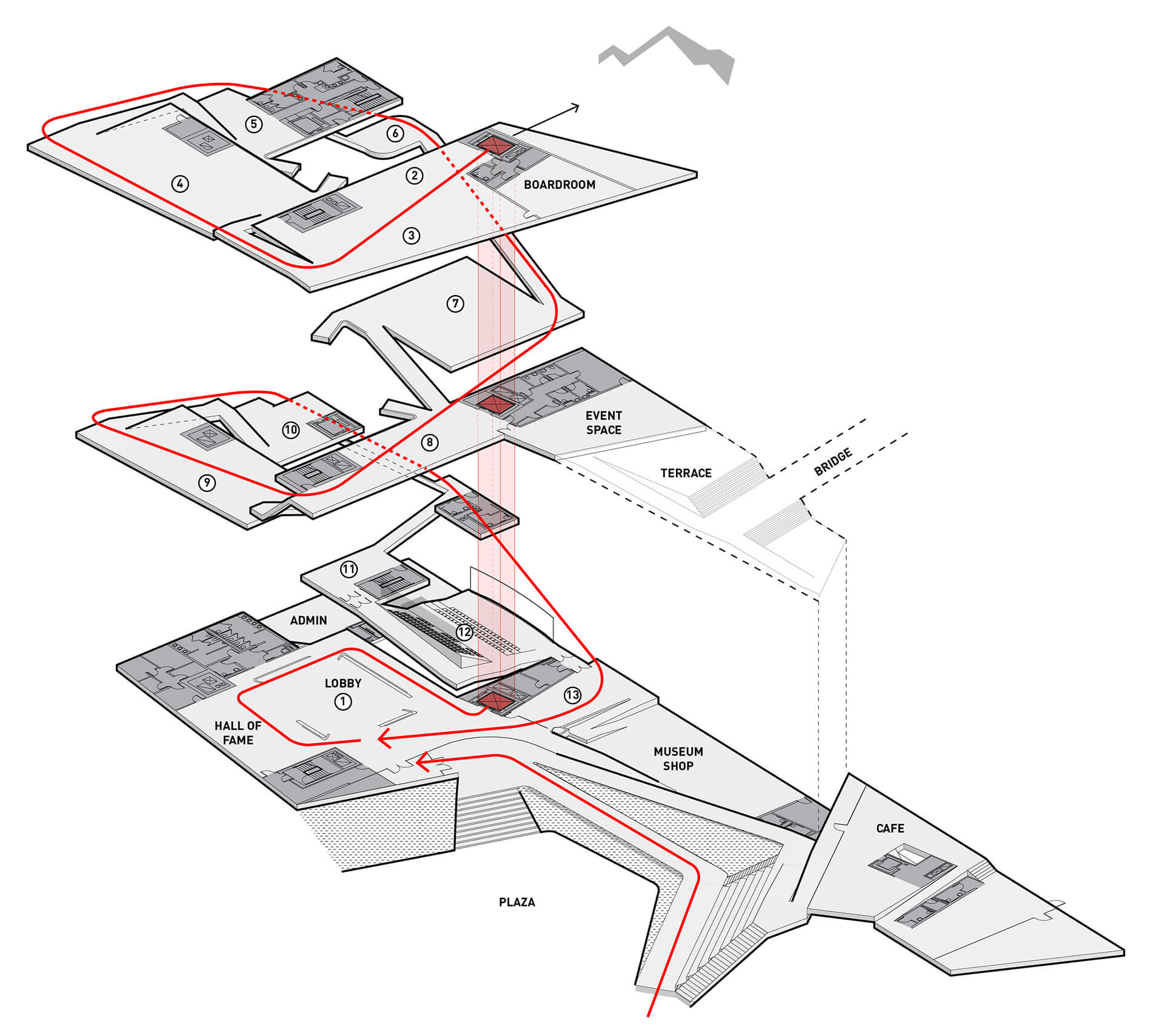 Floor wise axonometric exploded view of the USOP Museum Layout | United States Olympic and Paralympic Museum | Diller Scofidio + Renfro | STIRworld