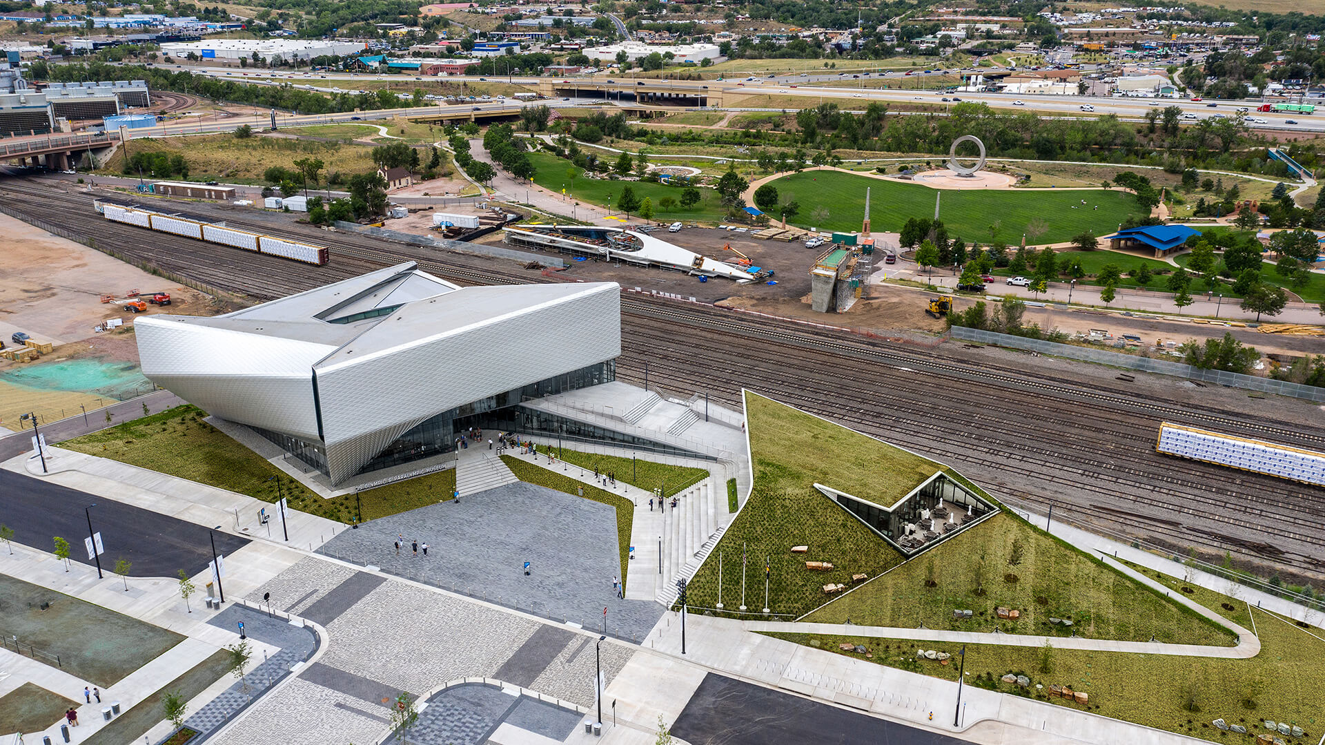 Bird's eye view of the USOP Museum, with the Southwest Pedestrian Downtown Bridge to be connected to the main complex | United States Olympic and Paralympic Museum | Diller Scofidio + Renfro | STIRworld