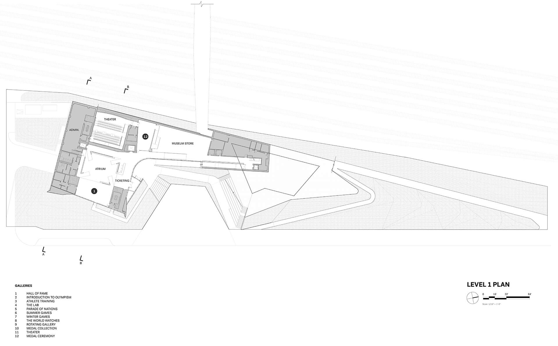 Level 1 Floorplan, USOPM | United States Olympic and Paralympic Museum | Diller Scofidio + Renfro | STIRworld