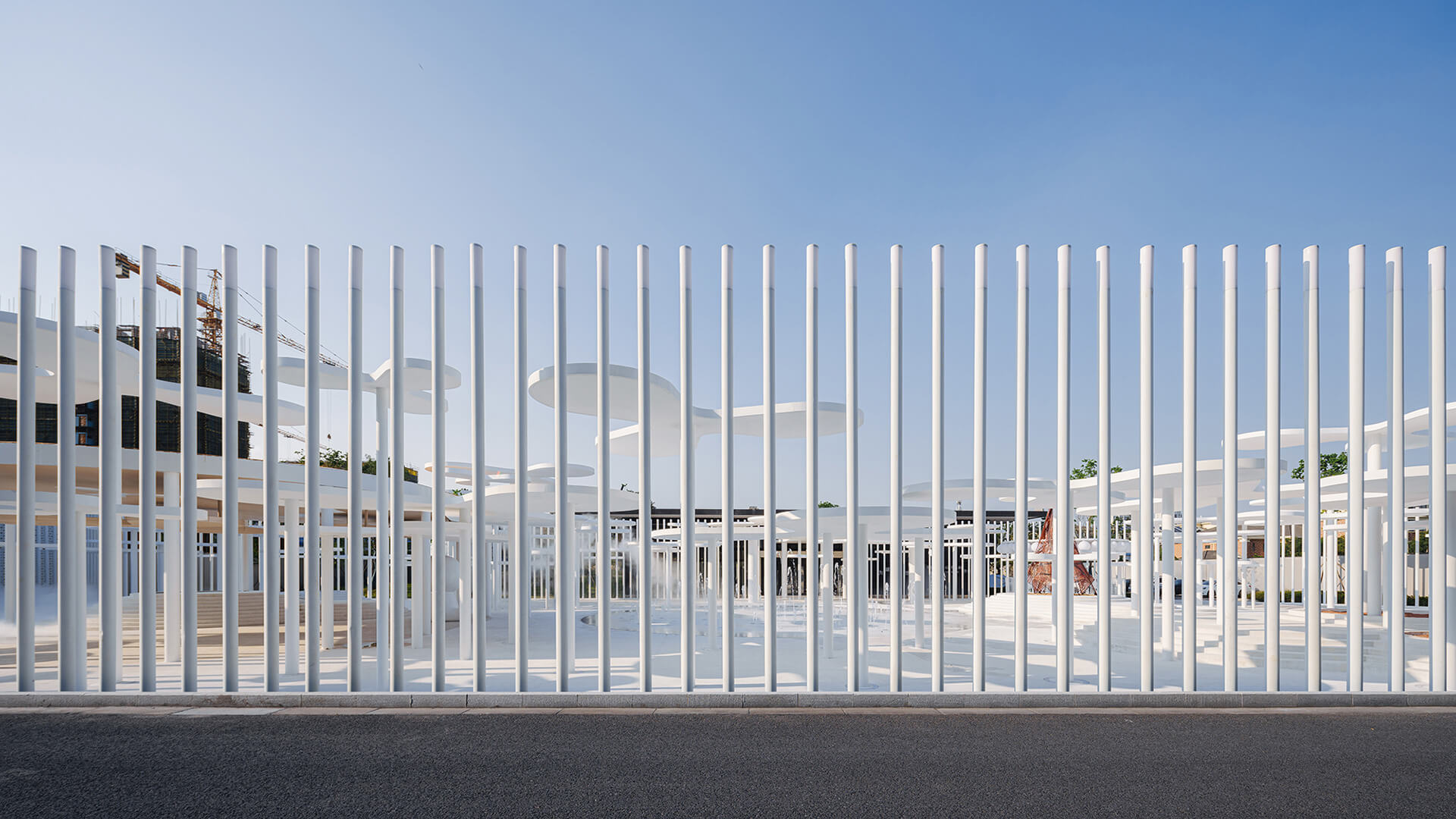 Steel columns mark the boundaries of the sales centre | White Upland | Wutopia Lab | STIRworld