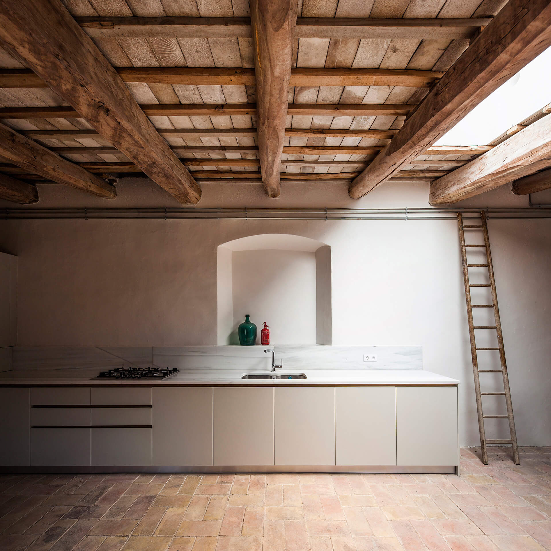 Second floor ceiling, view through kitchen | Dirk and the Chocolate Factory | Anna and Eugeni Bach Architects | STIRworld