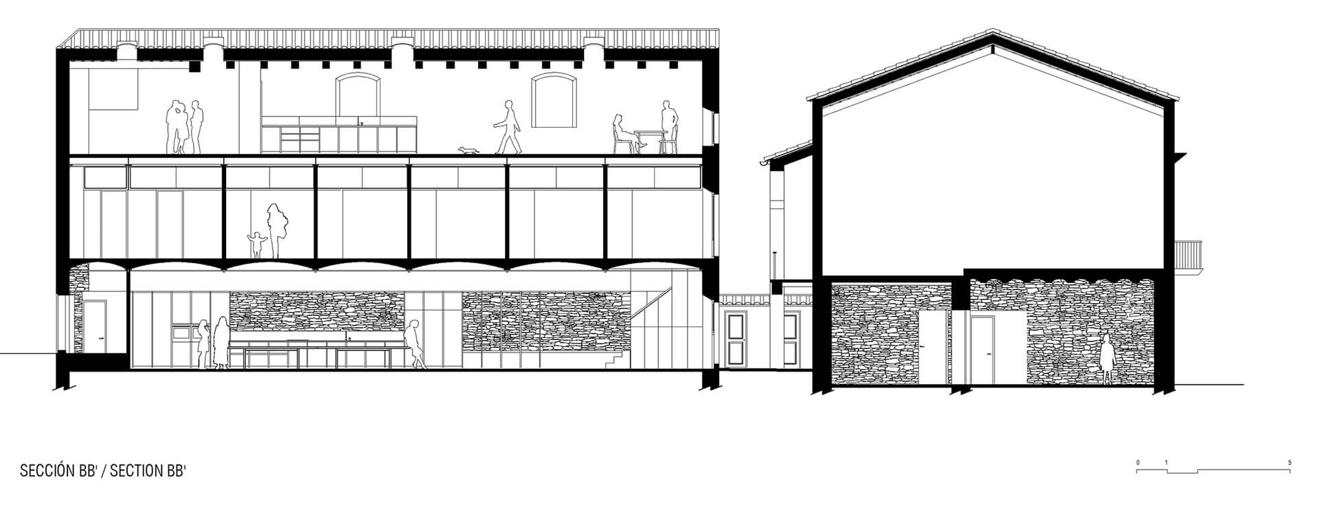 Longitudinal section through the building | Dirk and the Chocolate Factory | Anna and Eugeni Bach Architects | STIRworld