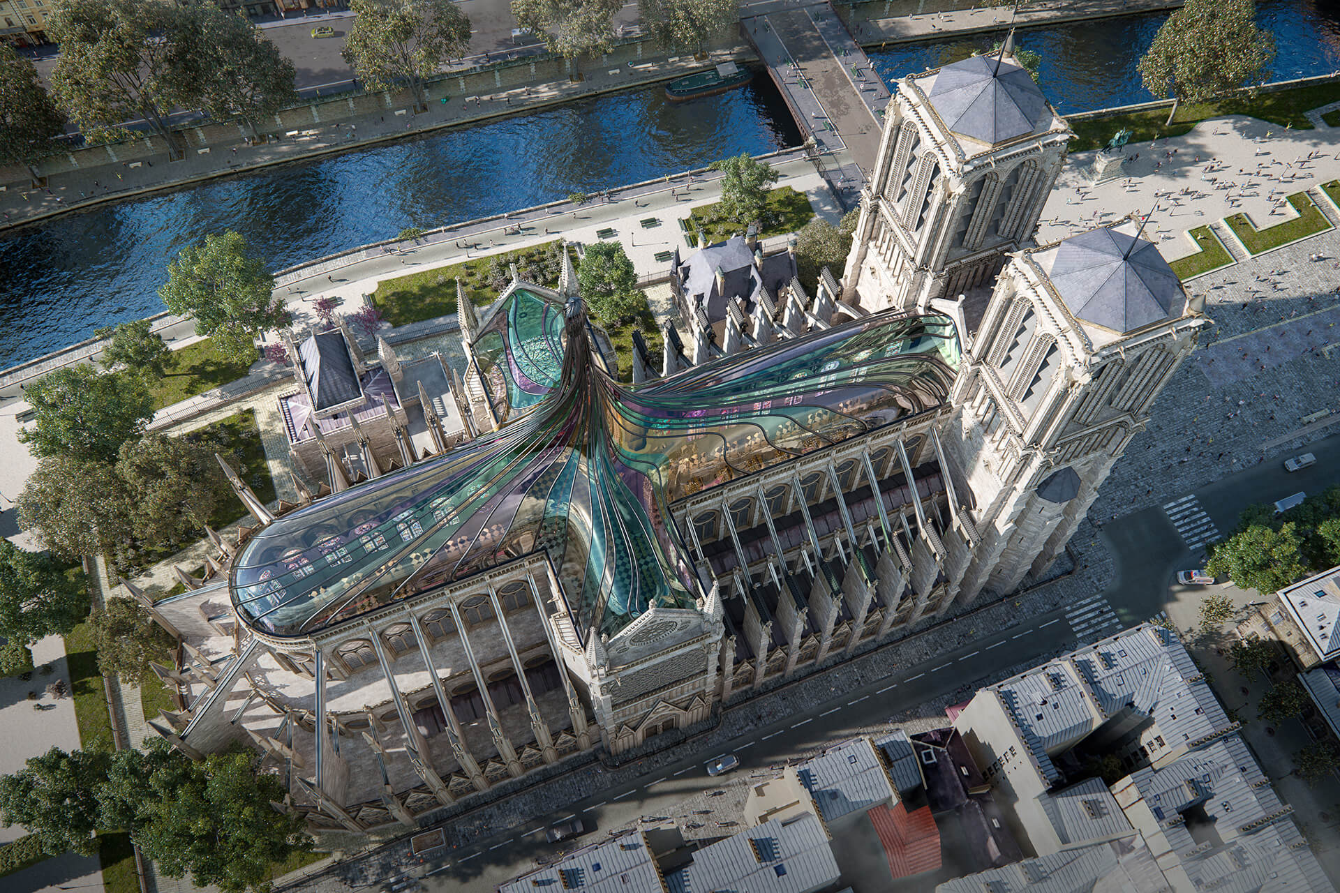 The concept as imagined in the day | Notre Dame cathedral roof restoration proposal by Trnsfrm | STIRworld