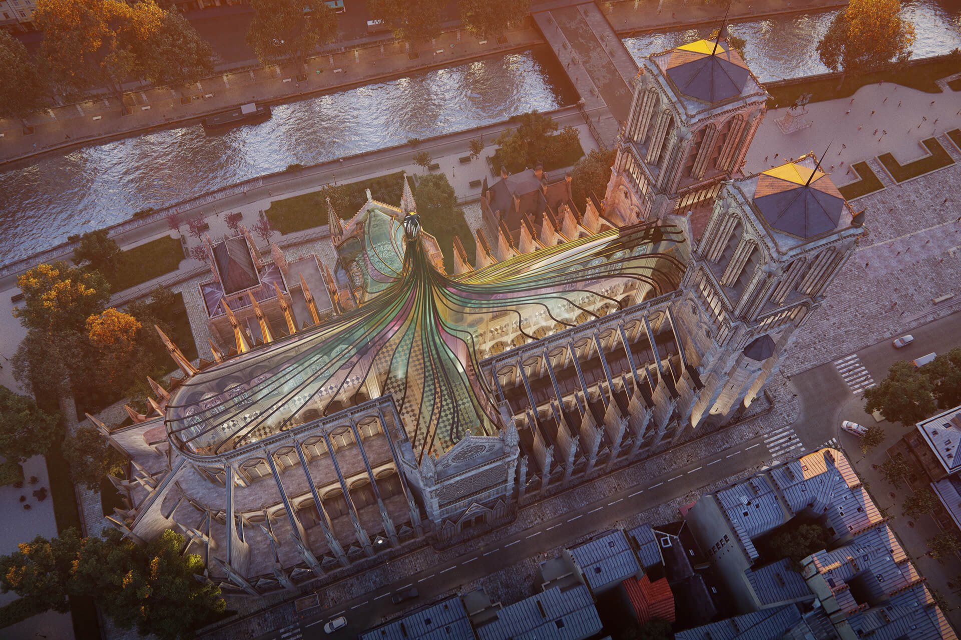 The concept as imagined at dusk | Notre Dame cathedral roof restoration proposal by Trnsfrm | STIRworld