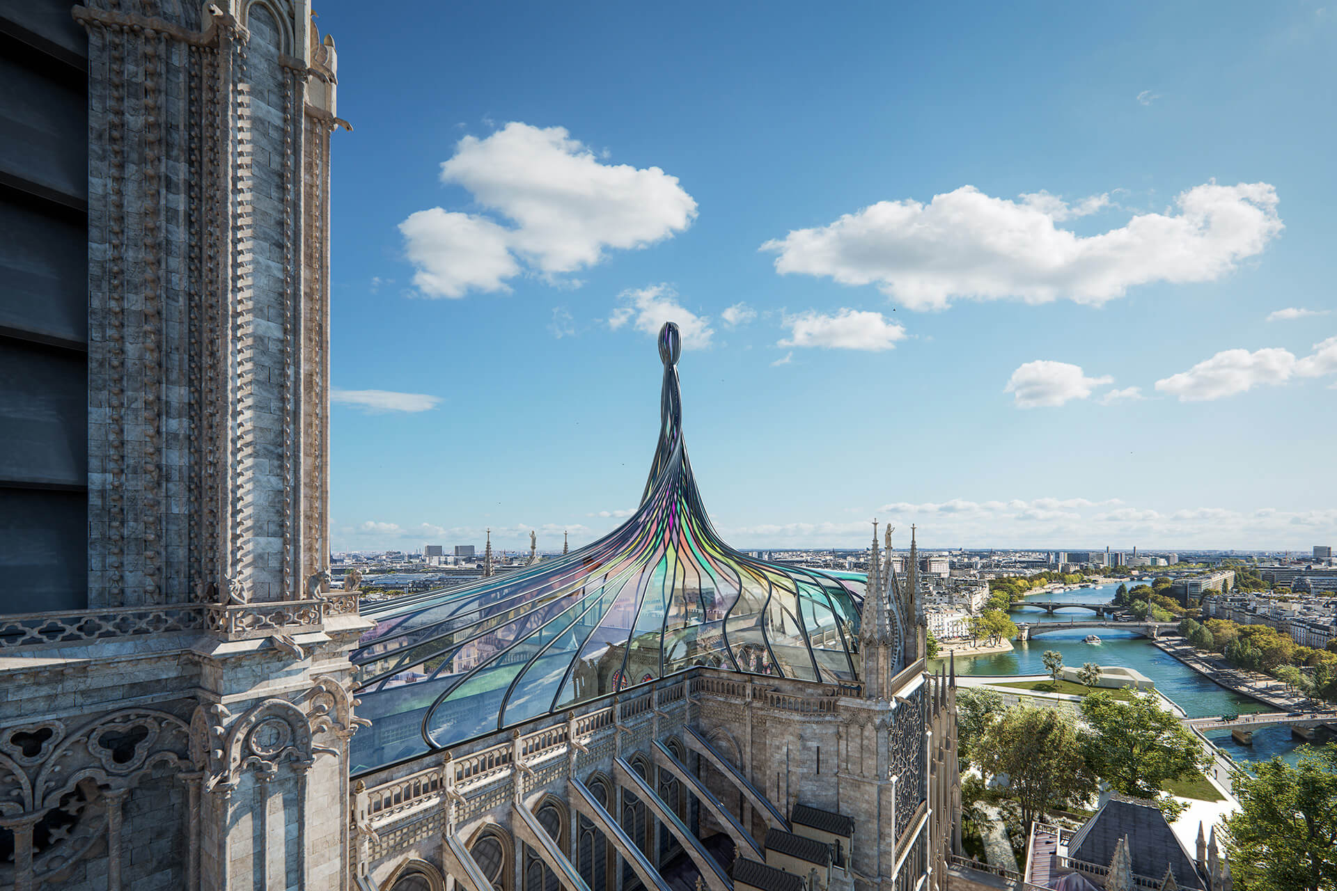 Stained glass roof and spire | Notre Dame cathedral roof restoration proposal by Trnsfrm | STIRworld