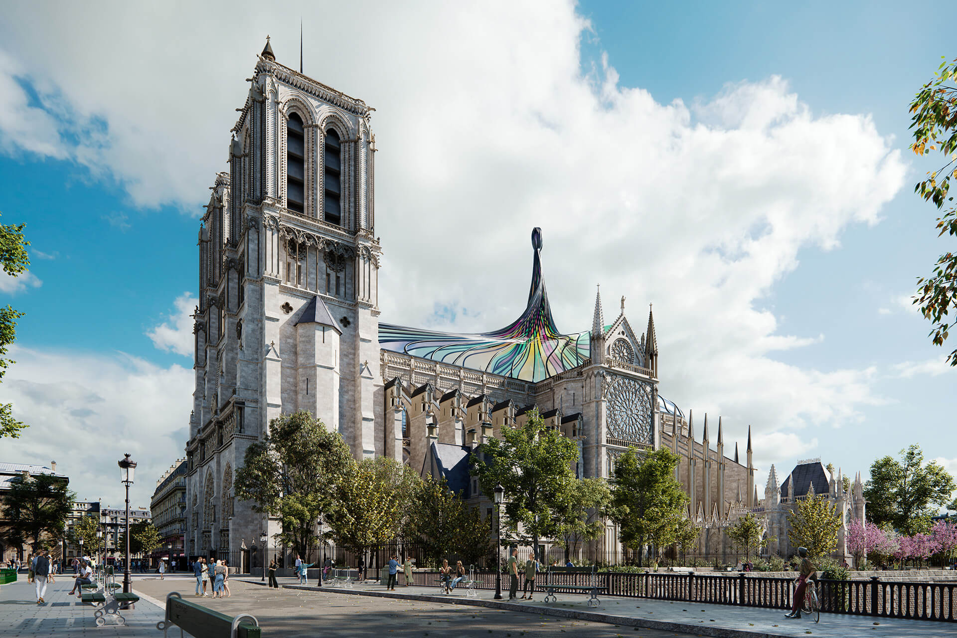 The rebuilt Notre Dame cathedral, as imagined by Trnsfrm | Notre Dame cathedral roof restoration proposal by Trnsfrm | STIRworld