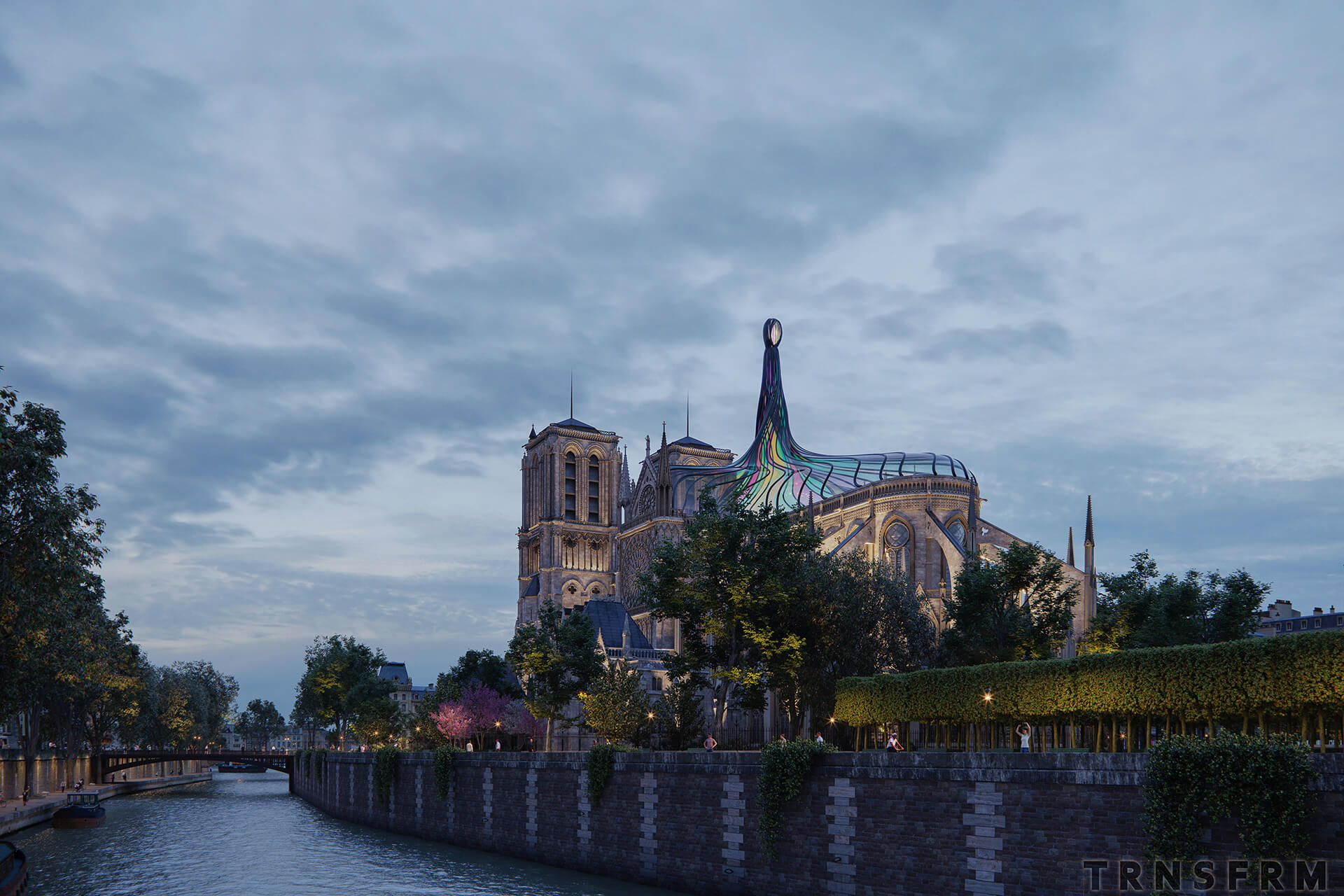 Notre Dame visualised during the night | Notre Dame cathedral roof restoration proposal by Trnsfrm | STIRworld