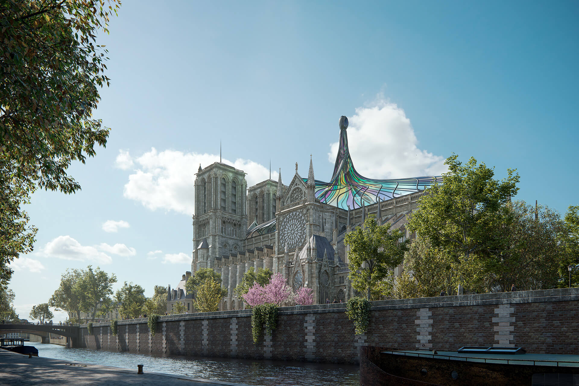Notre Dame visualised during the day | Notre Dame cathedral roof restoration proposal by Trnsfrm | STIRworld