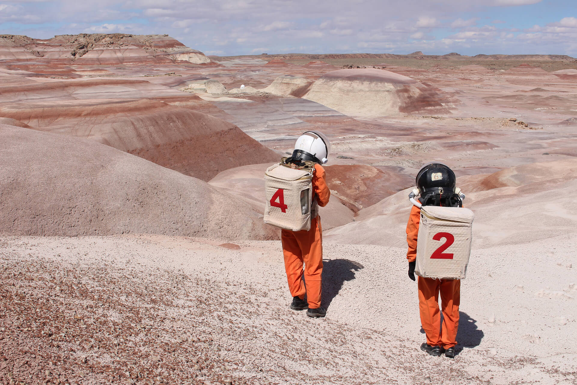 Artists Ella Good and Nicki Kent in astronaut suits at the Mars Desert Research Station, Utah | Hugh Broughton Architects | Bristol | STIRworld