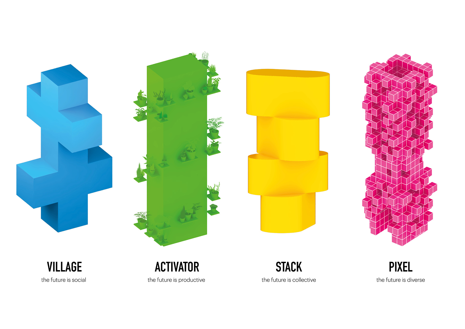 Alt Text: The towers representing the spatial intervention of village, activator, stack and pixel| MVRDV| STIR