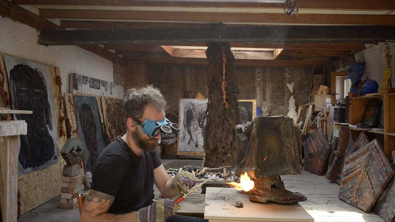 Artist Marius Ritiu working on 'Odysseus' in his studio | Odysseus by Marius Ritiu | Unseen Art | STIRworld