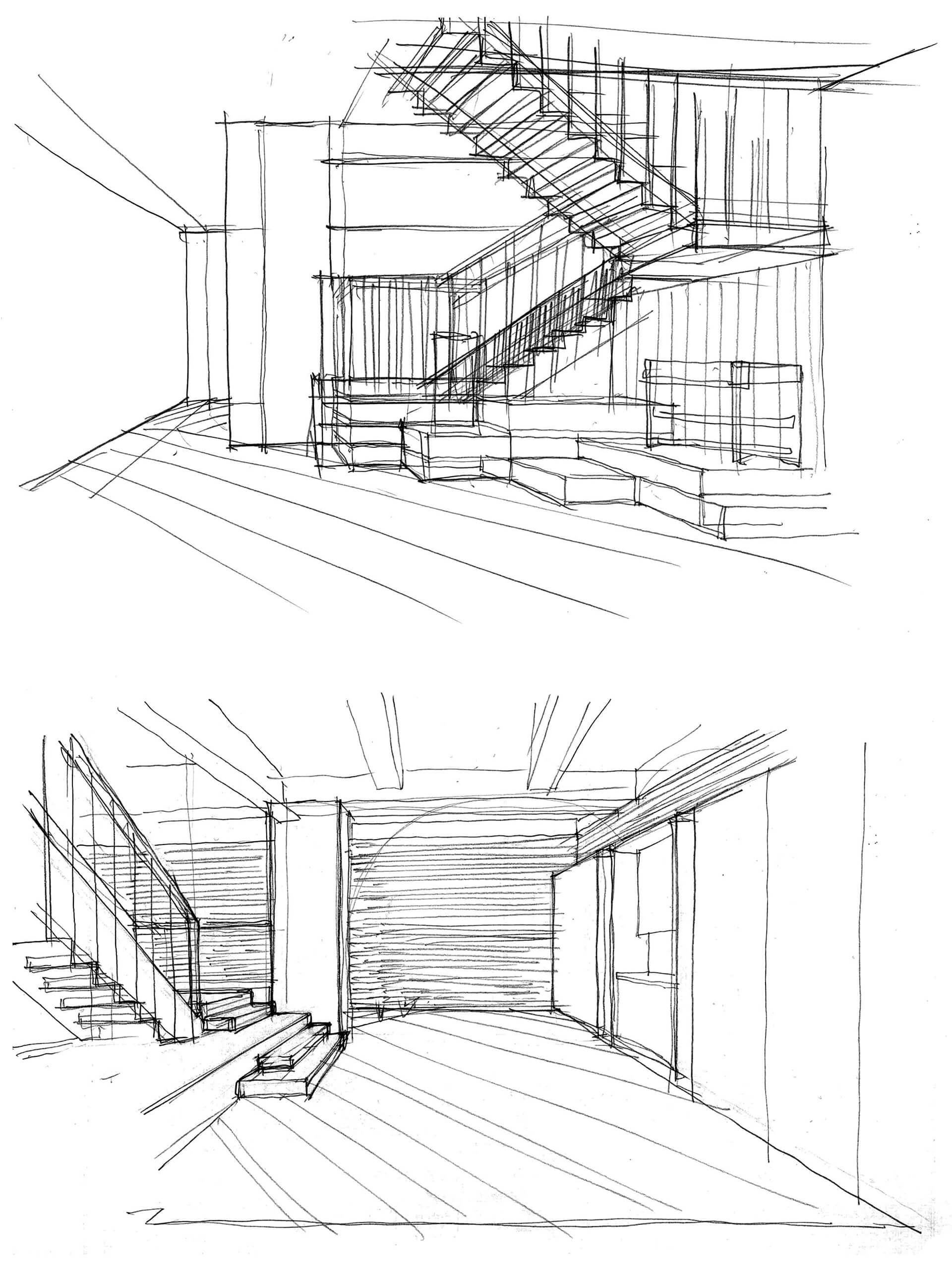 Concept sketches for The Stairway and The Gallery | House of Madison designed by via. | STIRworld