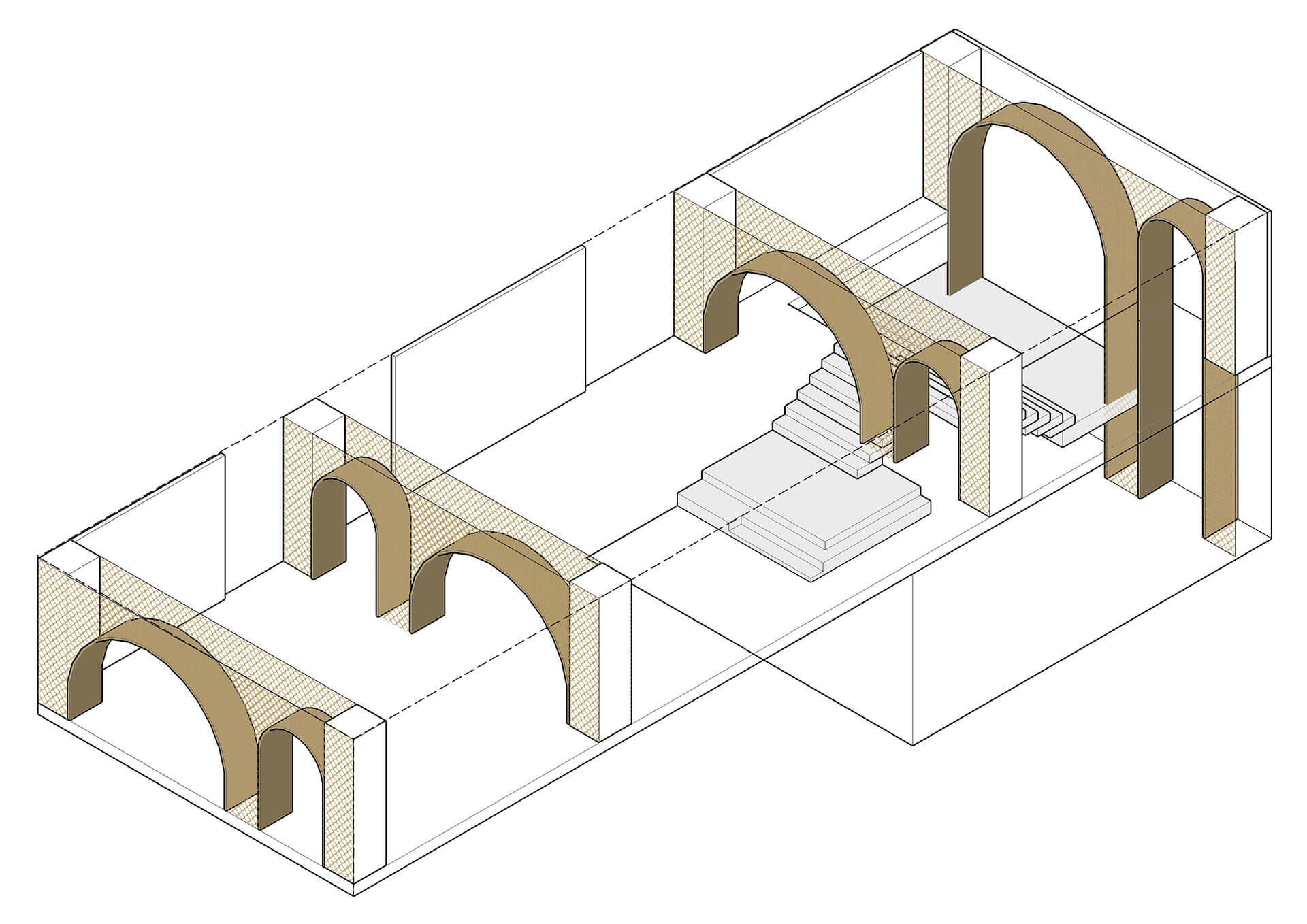 Visualisation of arches in layers | House of Madison designed by via. | STIRworld