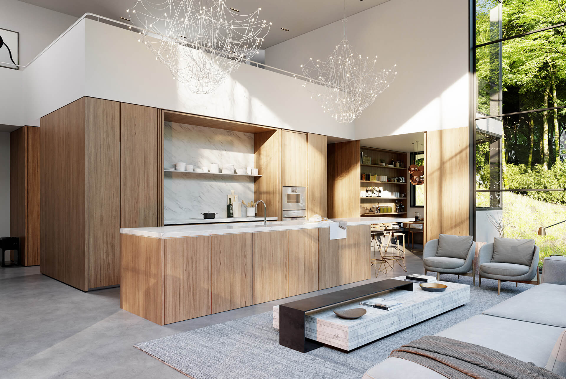 The living area and kitchenette | Crestwood Residence by Ancerl Studio | STIRworld