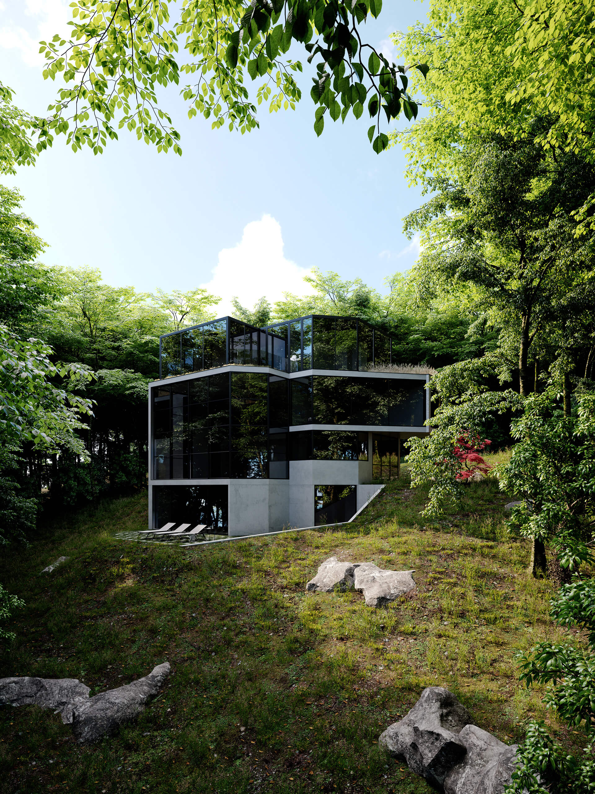 The rear façade of the Crestwood Residence that shows the slope of the hillside | Crestwood Residence by Ancerl Studio | STIRworld