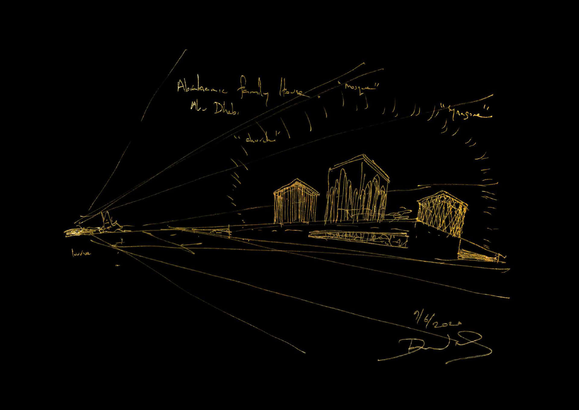 'Abrahamic Family House' Gold Leaf Lithograph by Sir David Adjaye | Architects for Beirut | STIRworld