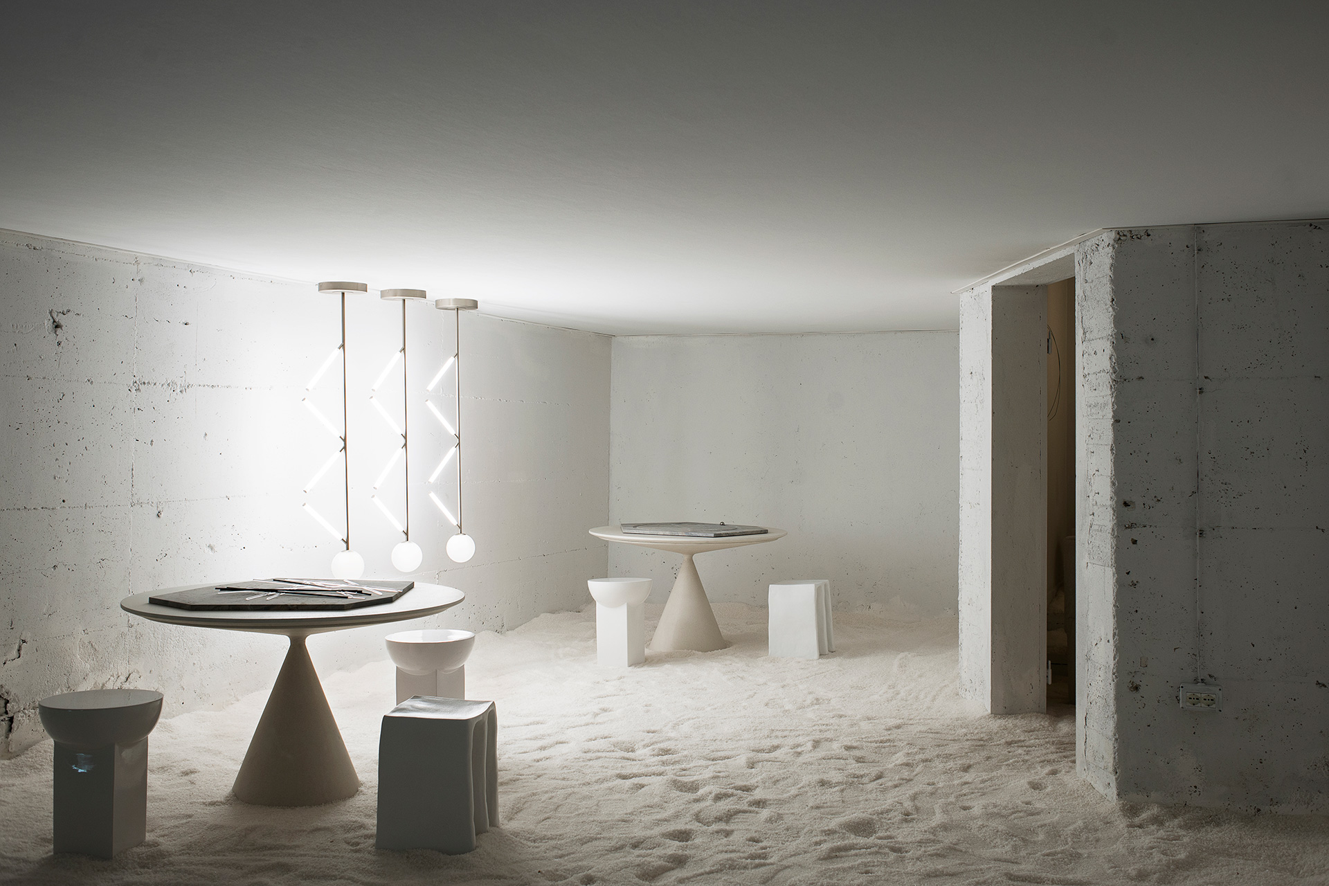 Società Mantica - the room with salt floor and white walls| Studiopepe| Les Arcanistes - The Future is un/written| Salone del Mobile| STIR