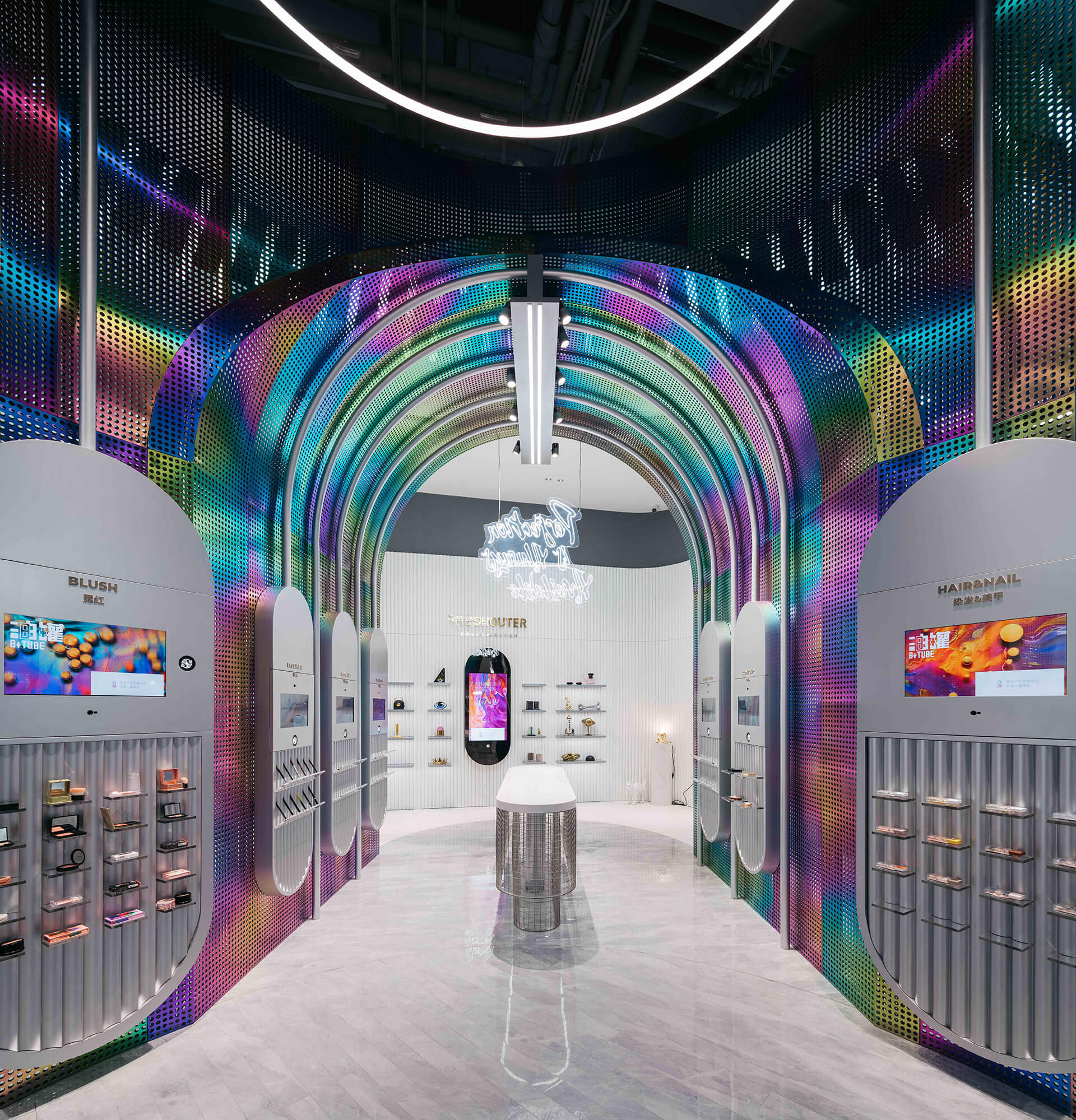 The colourful archways aim to attract teens and keep them engrossed | B+Tube cosmetics retail store by Storeage | STIRworld