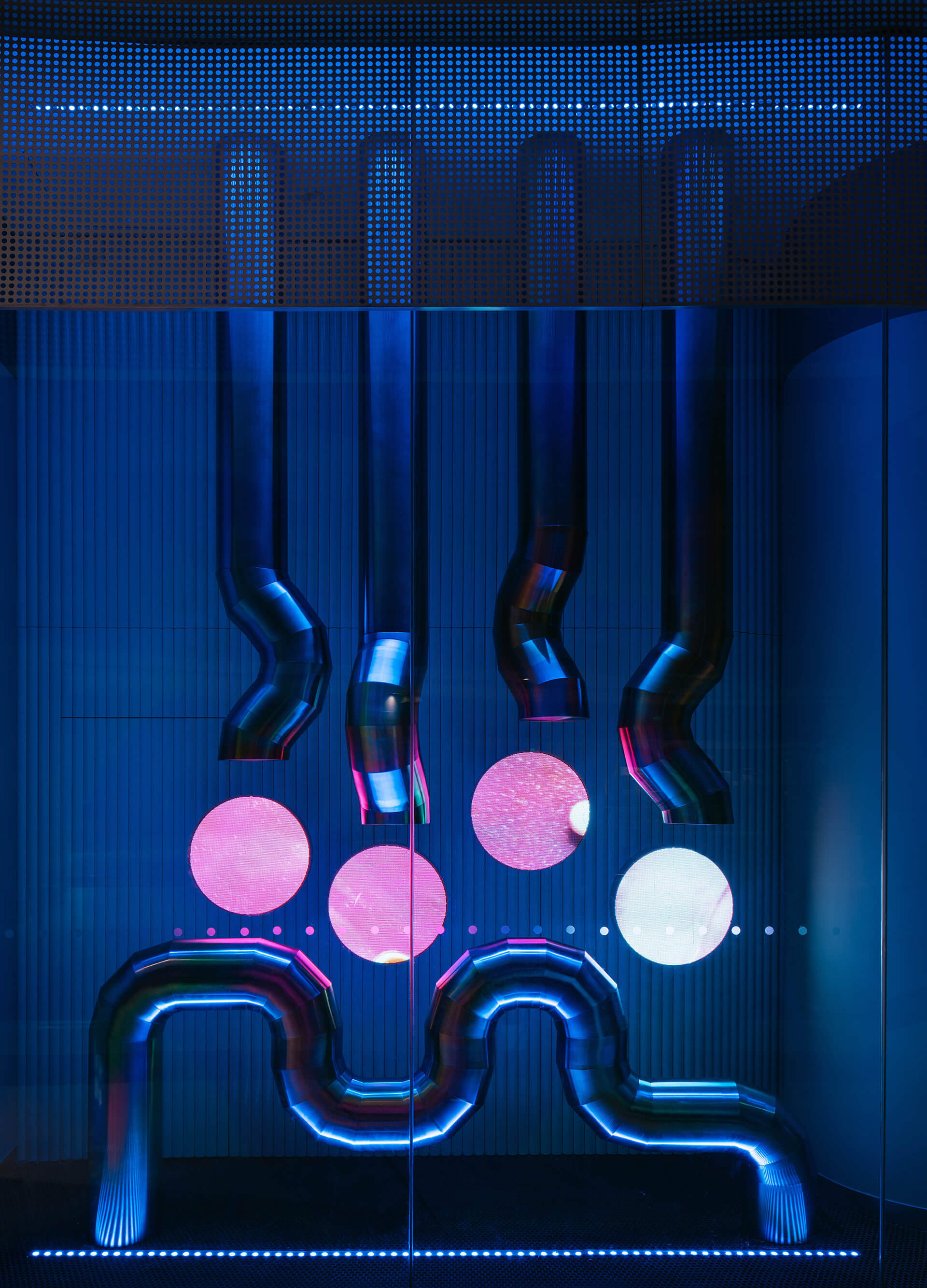 Neon furniture fixture | B+Tube cosmetics retail store by Storeage | STIRworld