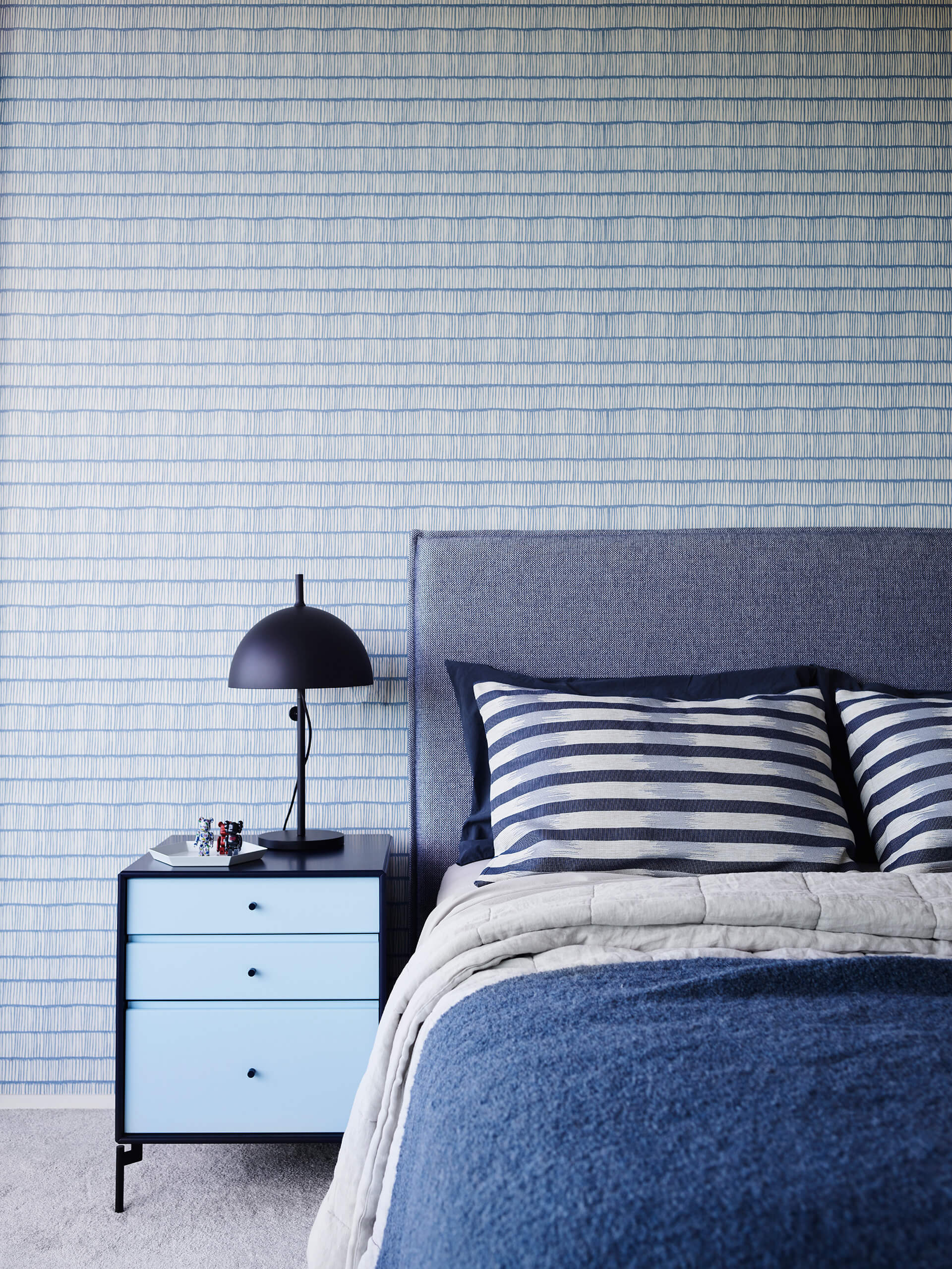 The bedrooms have a cooler colour palette in blue, green and grey | Hill House Interiors | Decus Interiors | STIRworld