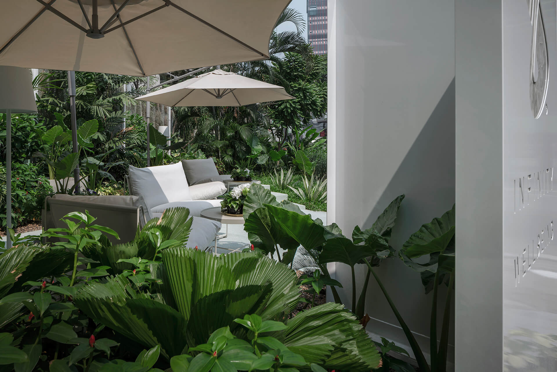 Tropical garden outside the spa veils it from the surrounding street | Infinity Wellbeing | Space Popular | STIRworld