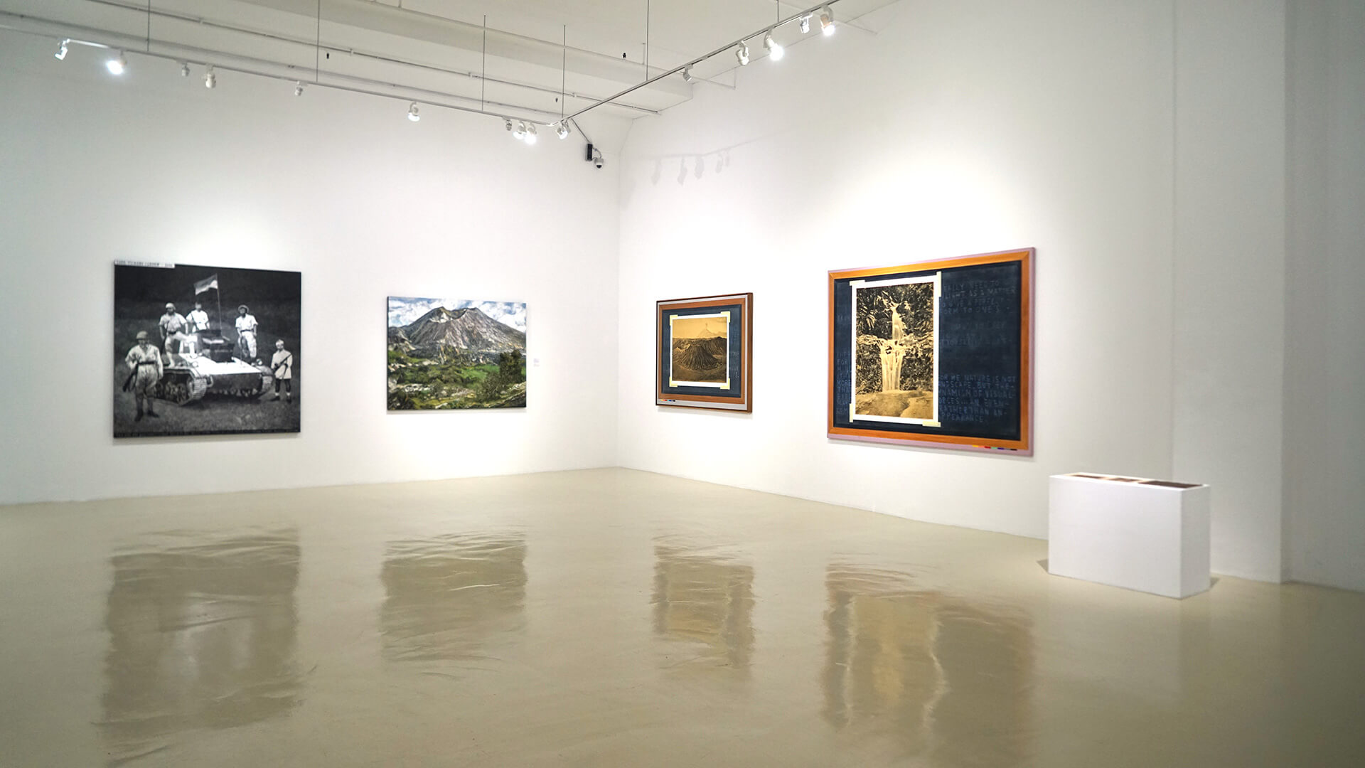 From left to right: 'Vickers Carden' (2014) and 'Mount Batur' (2020) by Mangu Putra and 'Re-Reading Landscape, Color Guide #1' (2020)) and 'Re-Reading Landscape, Color Guide #2' (2020) by Jumladi Alfi | (Re)Imagining the Image: Contemporary Artists in Asia Converse with Photography | Mangu Putra and Jumladi Alfi | STIRworld