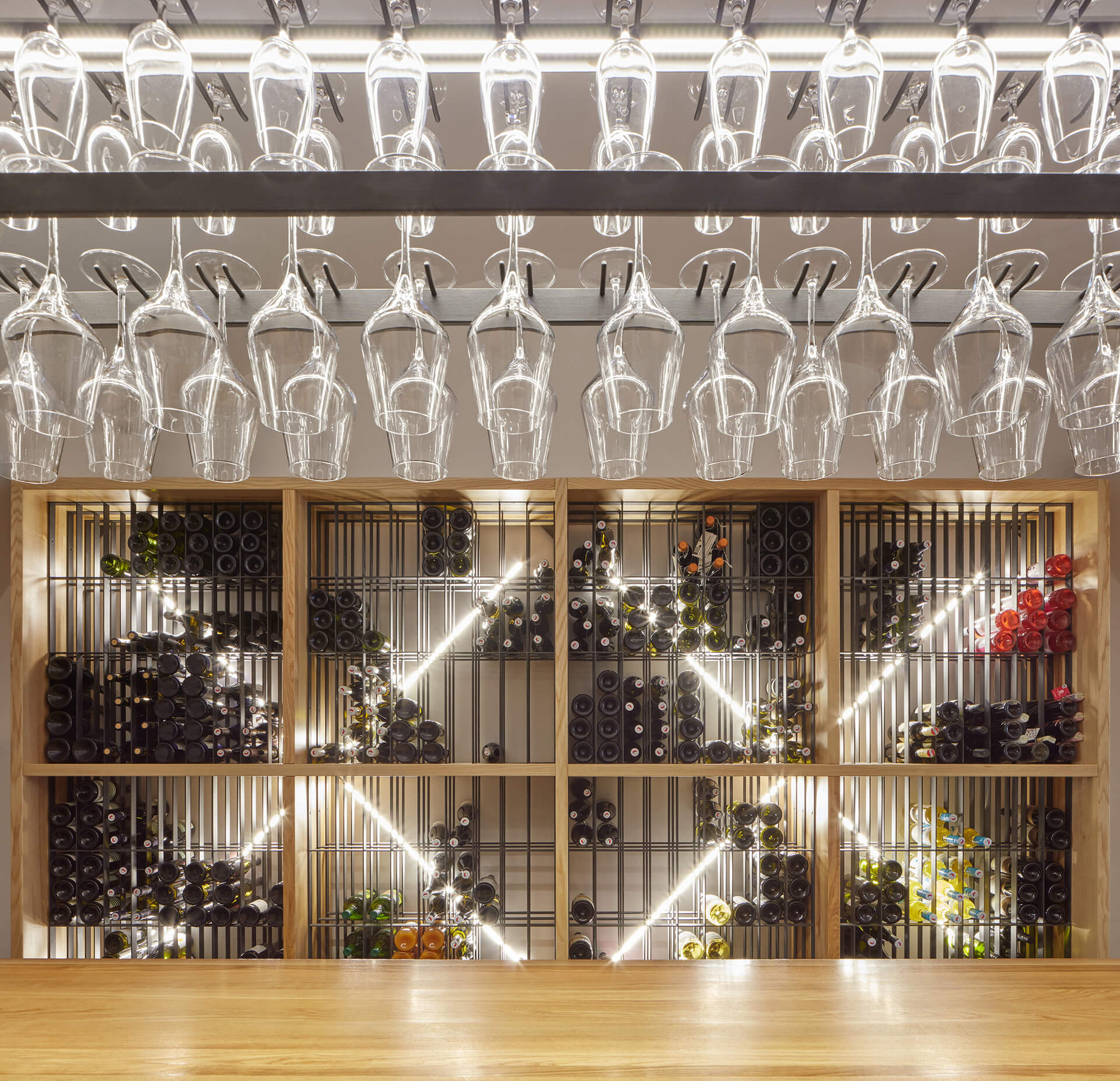 "The wine rack, and the ""cross"" from the vaults developed into a repeating interior motif 