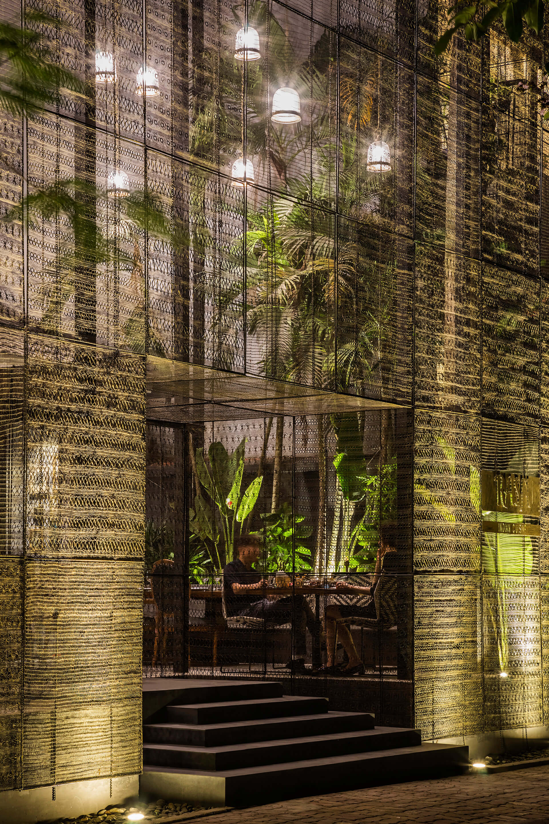 At night the screen becomes an interesting element for the street | RASM restaurant | Studio VDGA | STIRworld