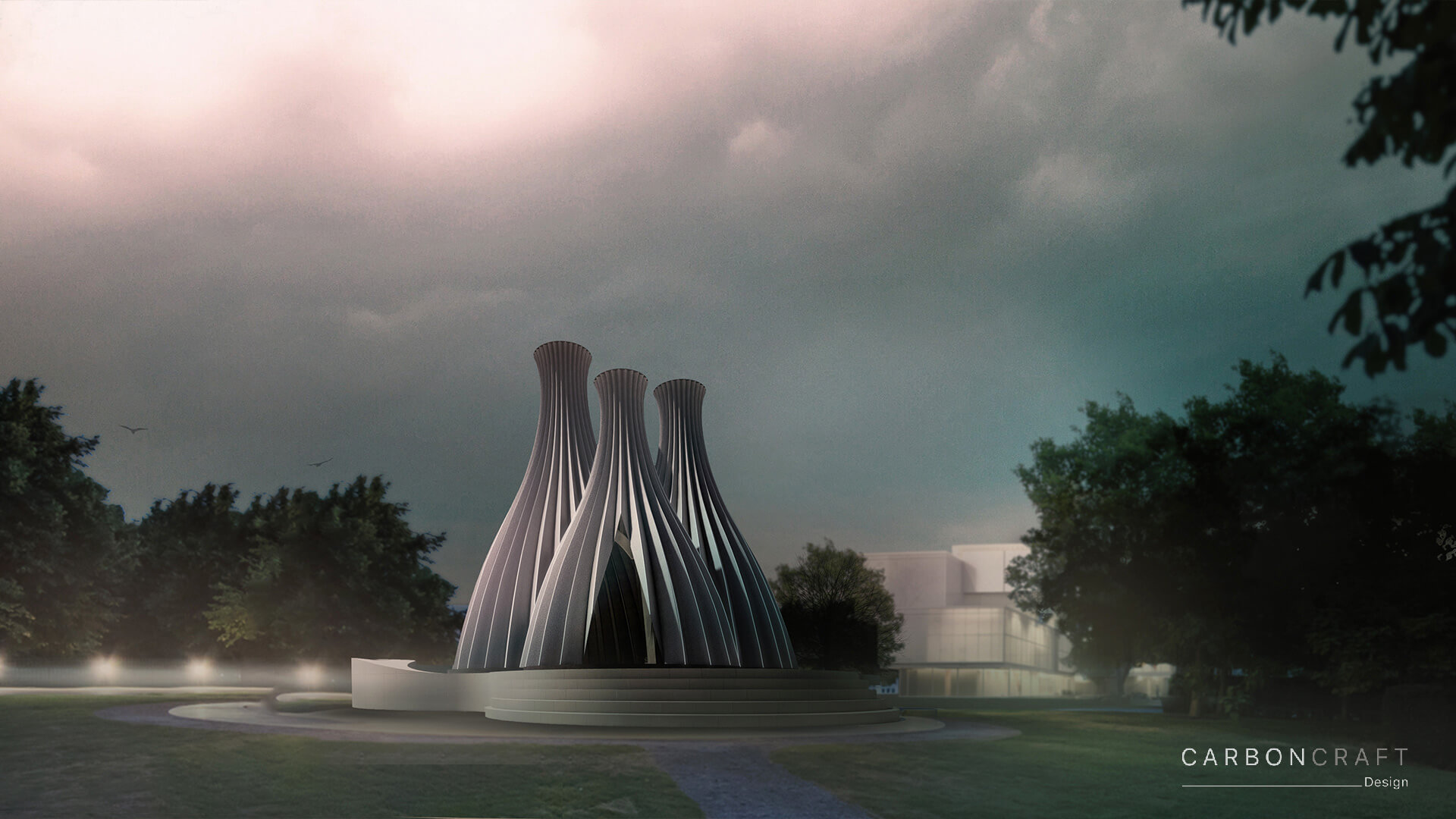 The pavilion aims to suck in polluted air and throw out treated, clean air | Reverse Chimney Pavilion by Carbon Craft Design | STIRworld