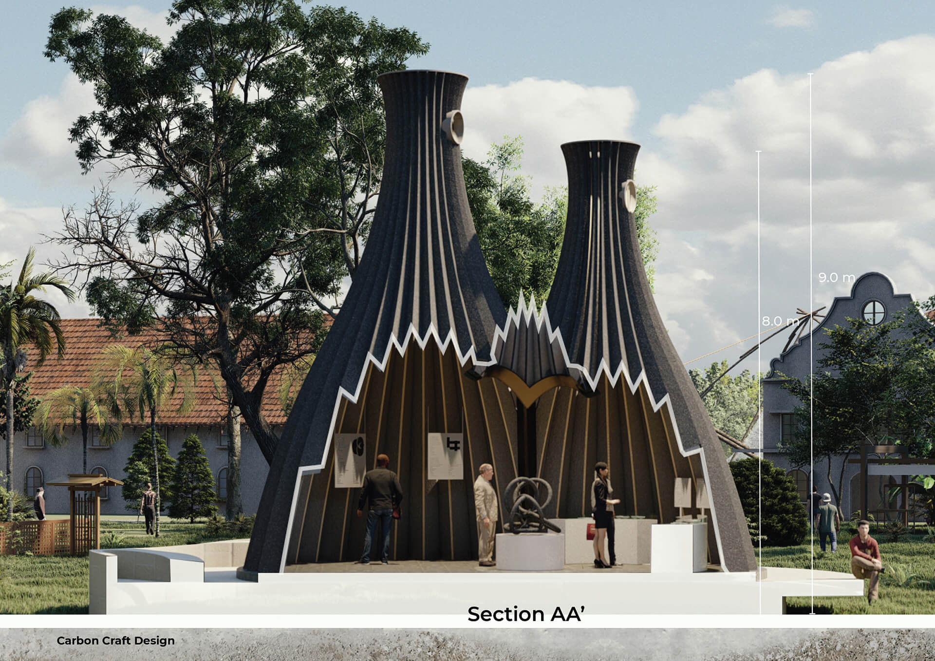 Sectional render shows the pavilion acting as a platform for discourse and sharing information | Reverse Chimney Pavilion by Carbon Craft Design | STIRworld