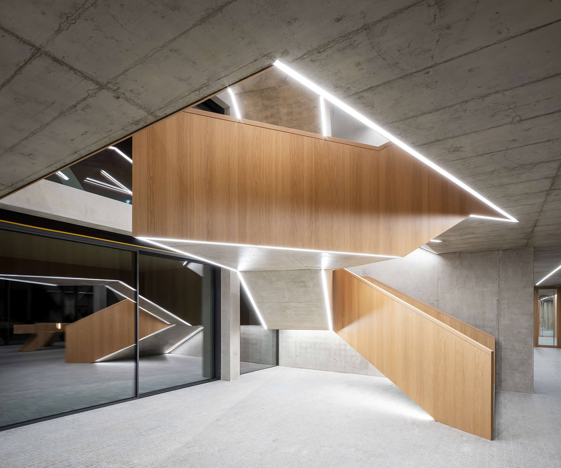 The interiors emphasise on crisp, geometry forms in wood and concrete | J. MAYER H. | Germany | STIRworld