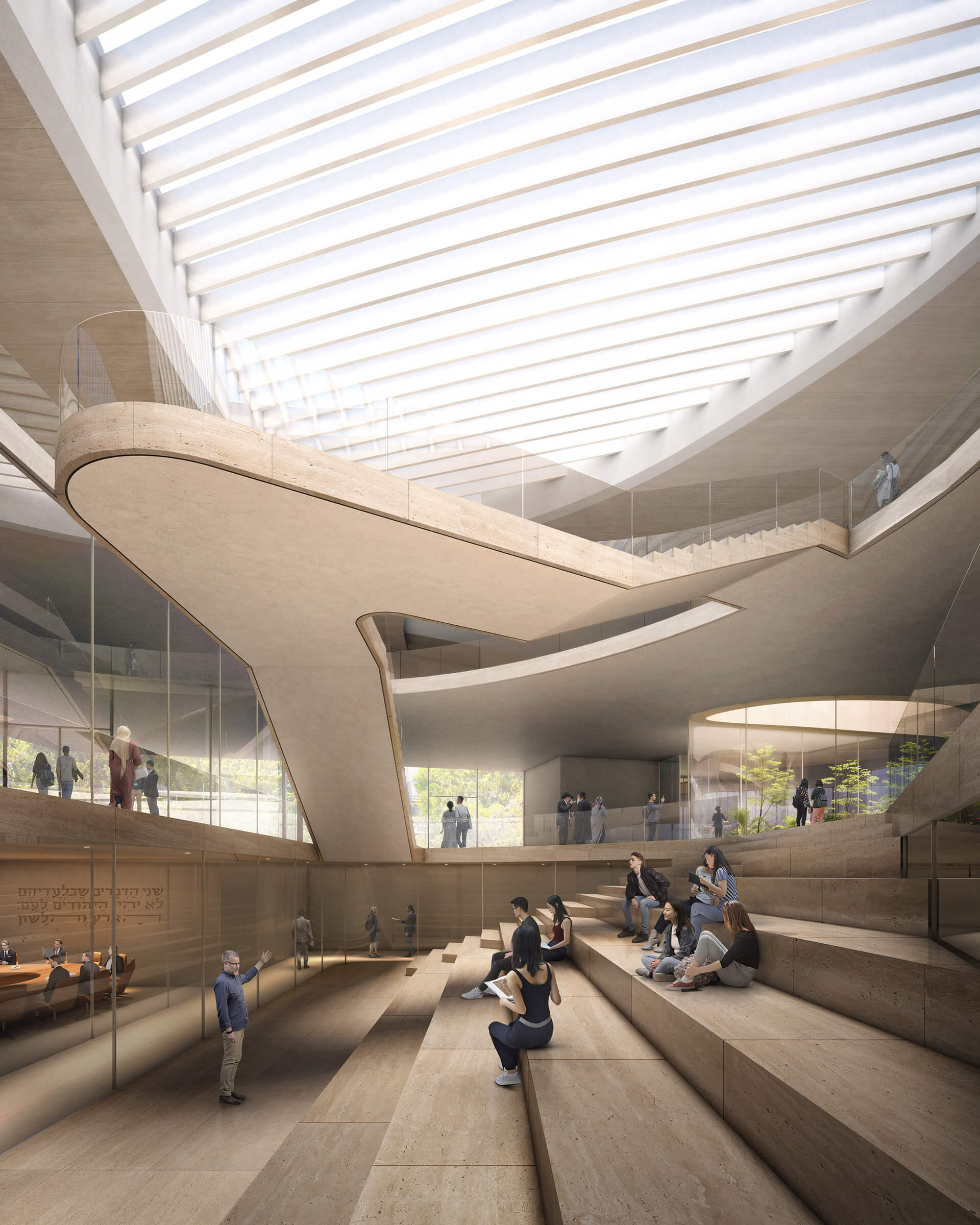 The spaces within the building are wrapped around a 56-foot high central atrium | Academy of the Hebrew Language HQ | ODA | STIRworld