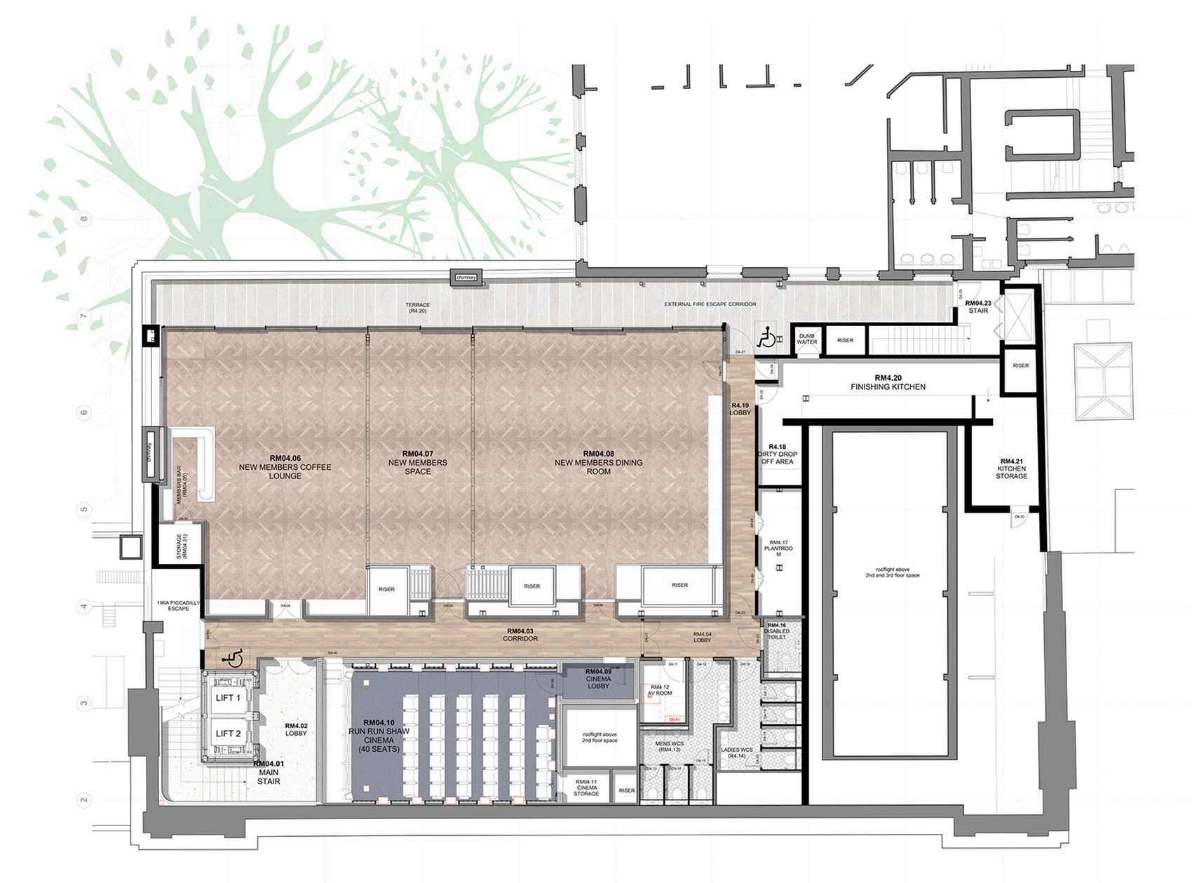 Fourth floor plan| BAFTA headquarters at 195 Piccadilly| Benedetti Architects| STIR