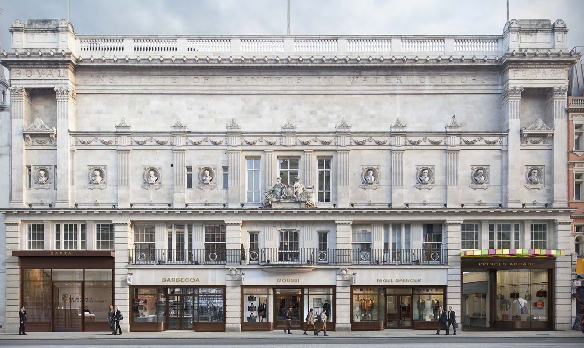 Proposed Elevation of BAFTA's 195 Piccadilly by Benedetti Architects  | BAFTA headquarters at 195 Piccadilly| Benedetti Architects| STIR