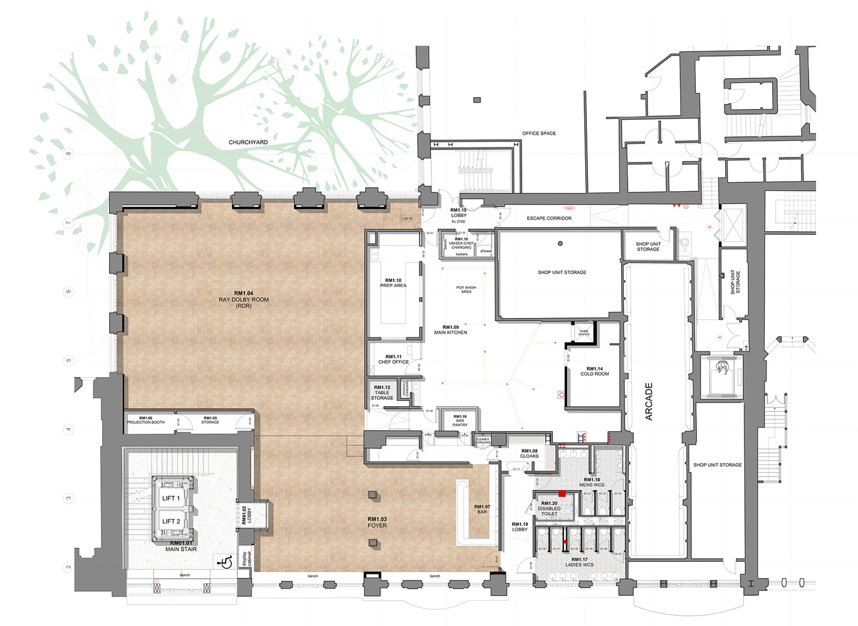 First Floor Plan| BAFTA headquarters at 195 Piccadilly| Benedetti Architects| STIR