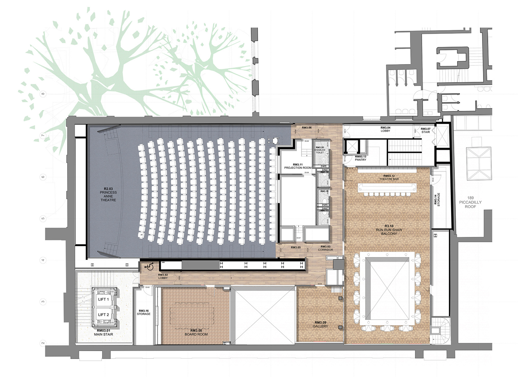 Third Floor Plan| BAFTA headquarters at 195 Piccadilly| Benedetti Architects| STIR