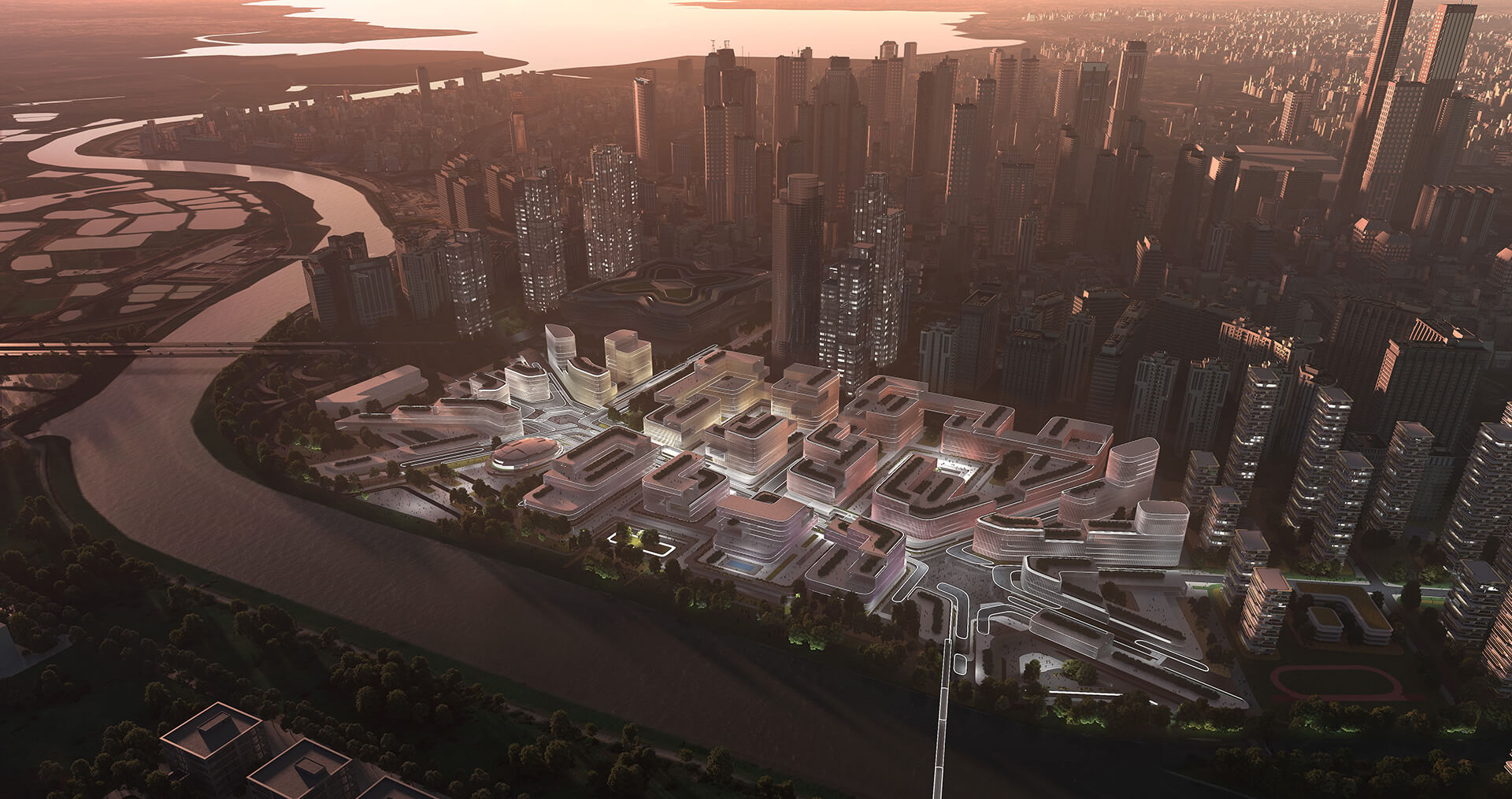 The development lies on the proposed Guangzhou-Shenzhen Science and Technology Innovation Corridor | Huanggang Port Area Masterplan | Zaha Hadid Architects | STIRworld