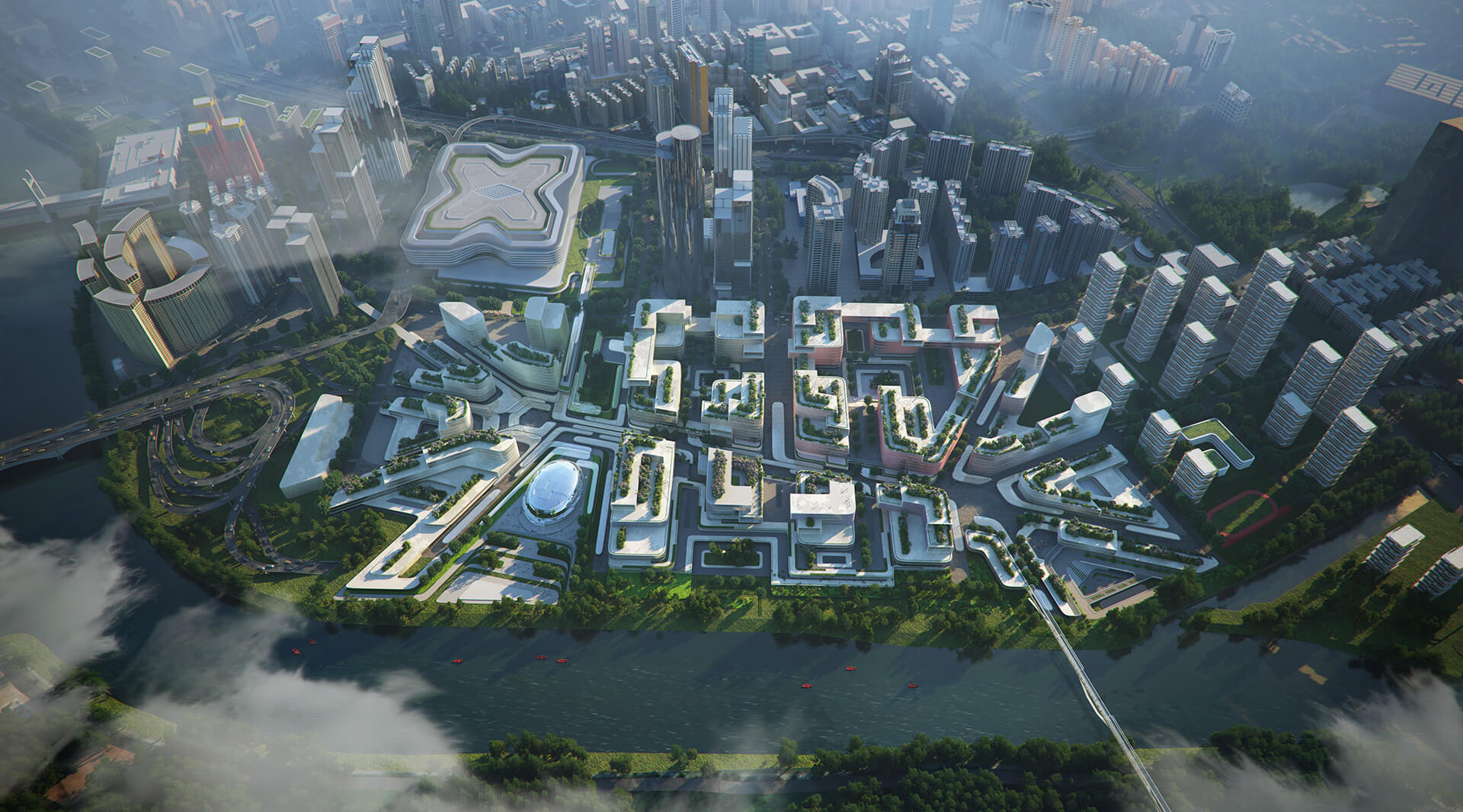 Bird's eye view of the proposed development | Huanggang Port Area Masterplan | Zaha Hadid Architects | STIRworld