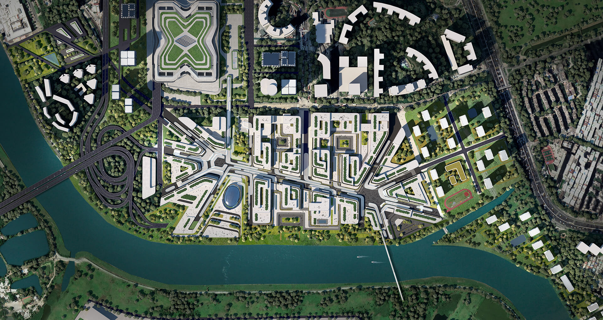 The masterplan, also showcasing individual green nuclei within building clusters | Huanggang Port Area Masterplan | Zaha Hadid Architects | STIRworld