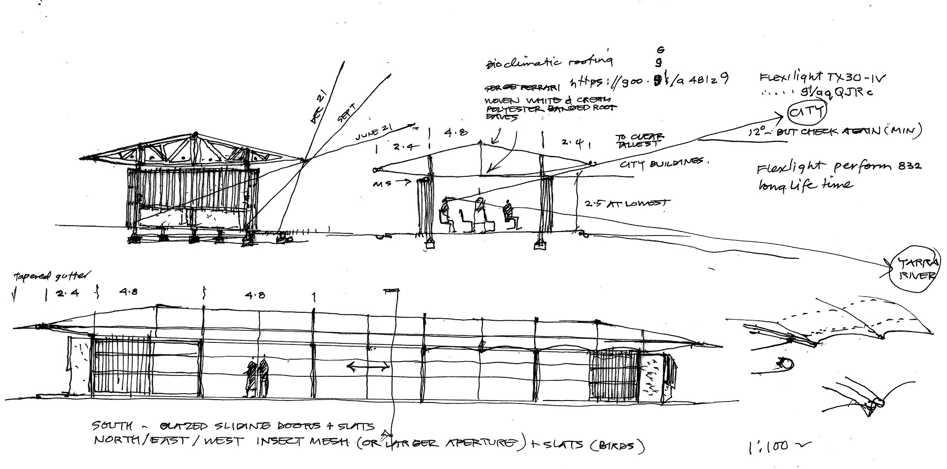 MPavilion - a sketch by the architect| MPavilion 2019| Glenn Murcutt| STIR