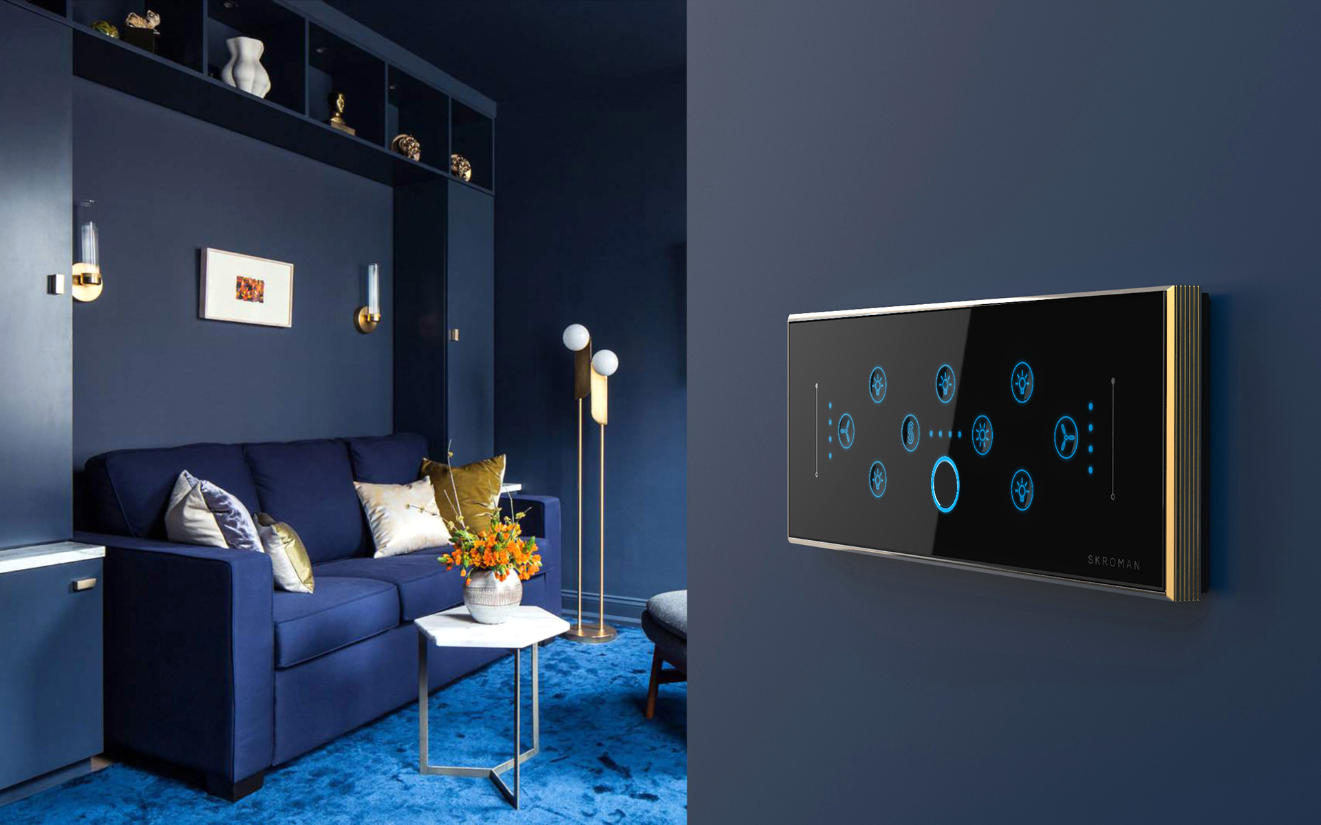 Wall mounted Biometric Switch Panel, with customised blue LED and brass frame| Paul Sandip| Biometric Switch Panel| STIR