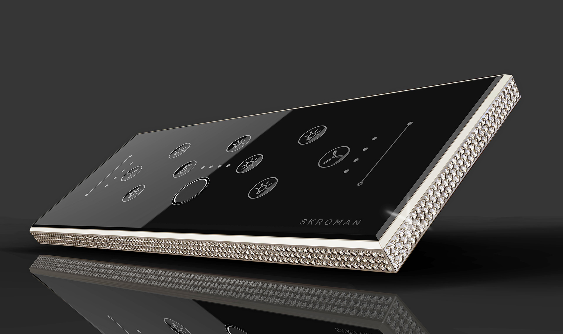 Biometric Switch Panel – luxury version, with custom built-in metal frame and studded with 780 diamonds| Paul Sandip| Biometric Switch Panel| STIR