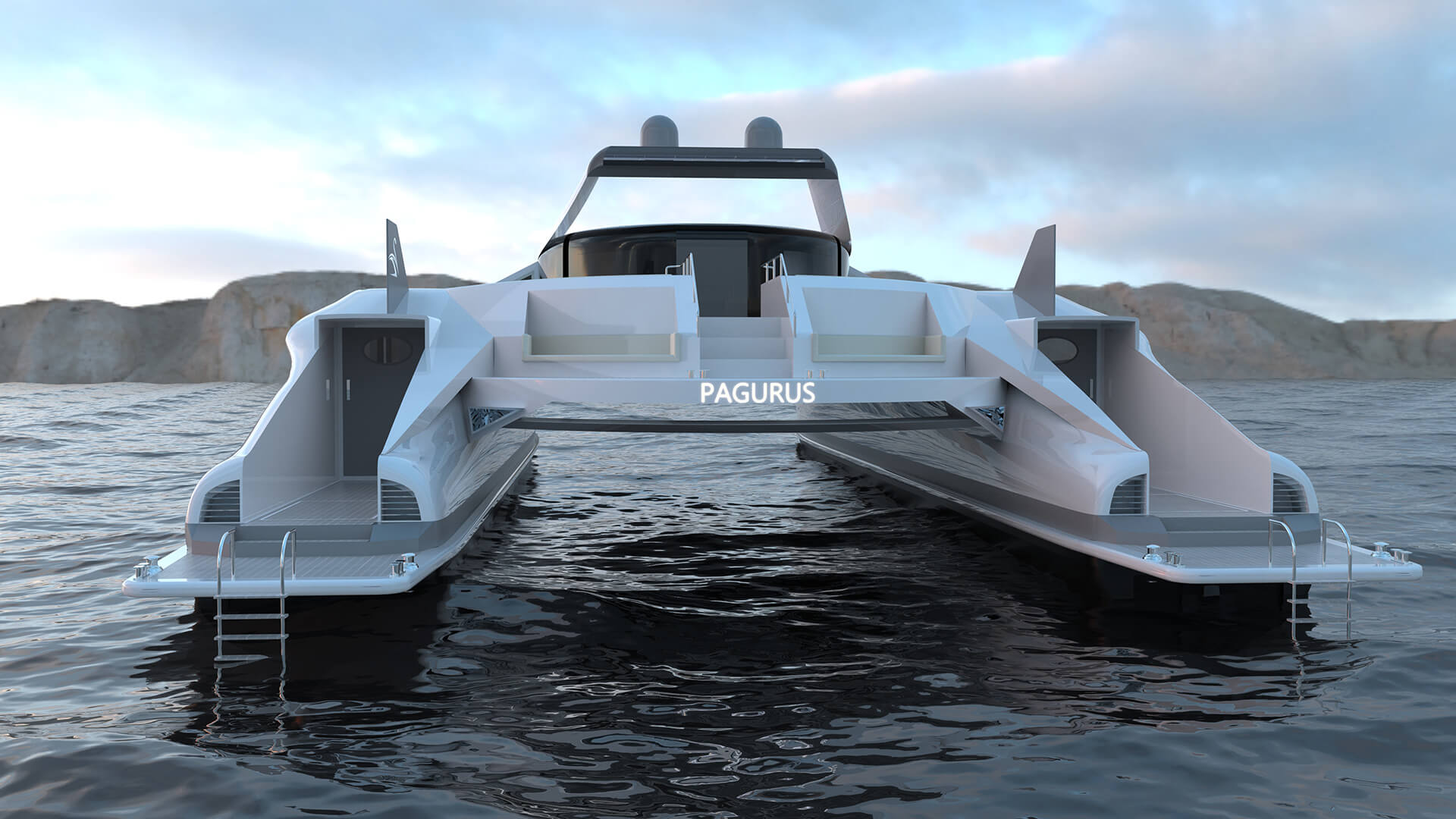 Rear view of the Pagurus: its form draws inspiration from a giant crab | Pagurus Amphibious Catamaran | Pierpaolo Lazzarini | STIRworld