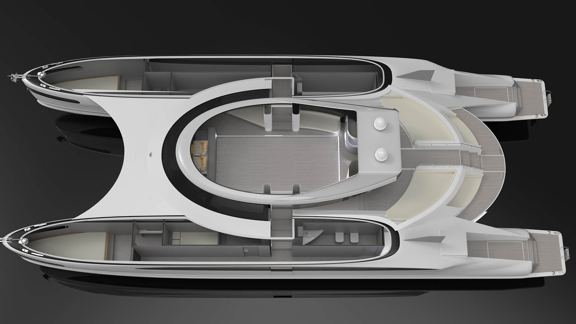 Top section slice showing interiors of the hull and central space | Pagurus Amphibious Catamaran | Pierpaolo Lazzarini | STIRworld