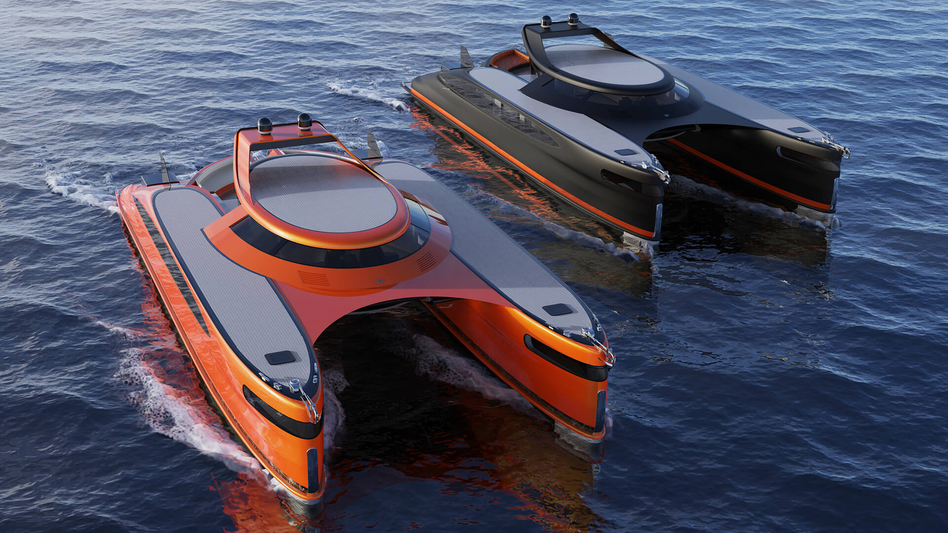 The Pagurus can be availed in other colours with the painted over dry carbon fiber body | Pagurus Amphibious Catamaran | Pierpaolo Lazzarini | STIRworld