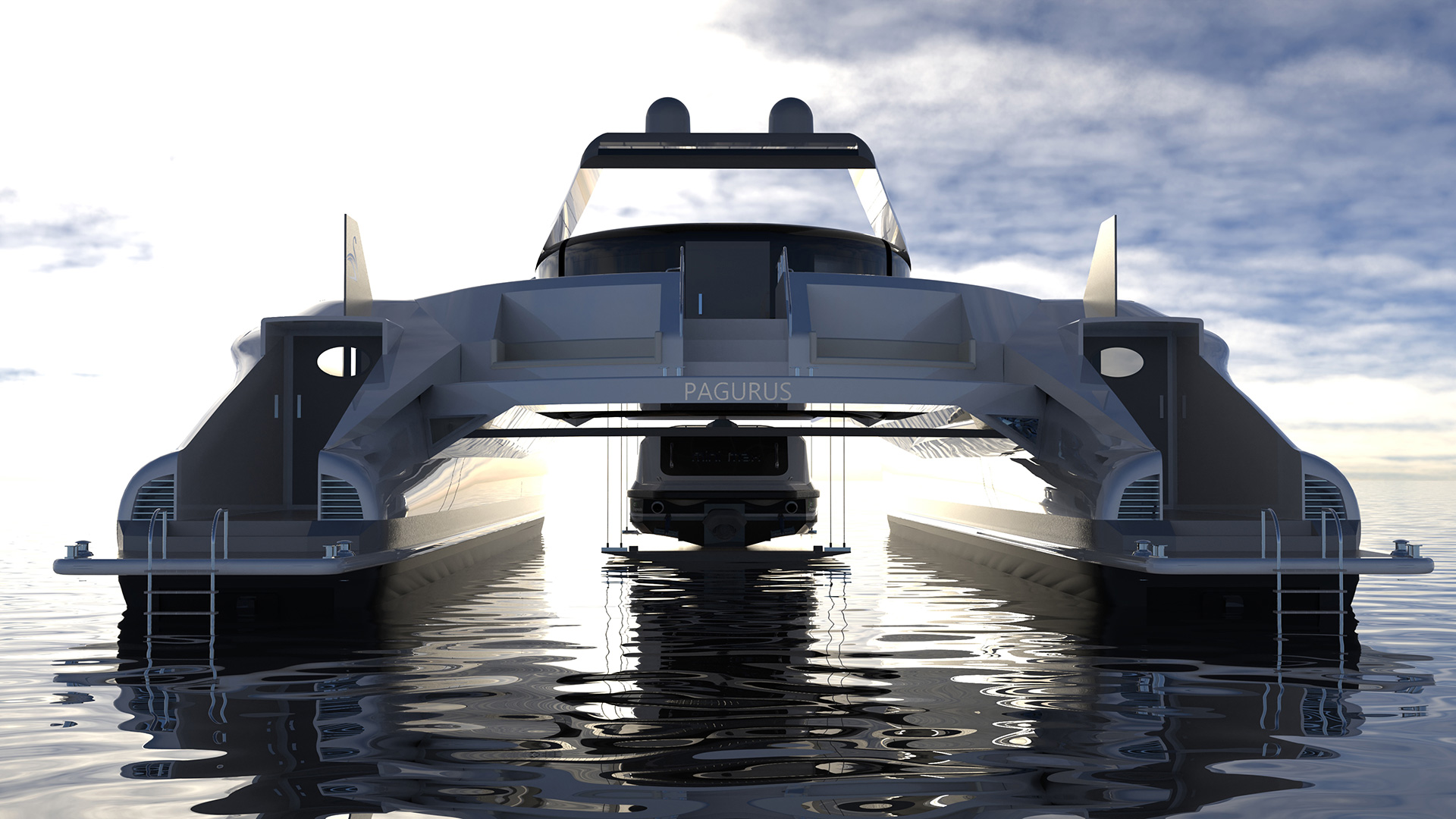 The yacht has a twin hull connected by a bridge tower deck station | Pagurus Amphibious Catamaran | Pierpaolo Lazzarini | STIRworld