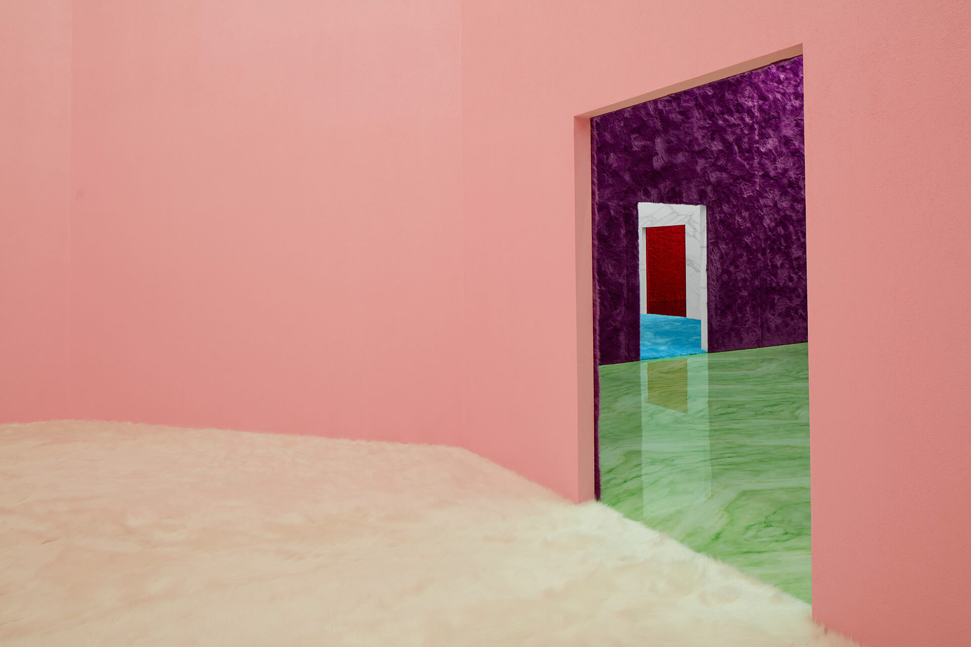 Dark magenta faux fur-clad walls and a muted green marble floor unveils the third room | Possible Feelings | Prada x Rem Koolhaas | STIRworld